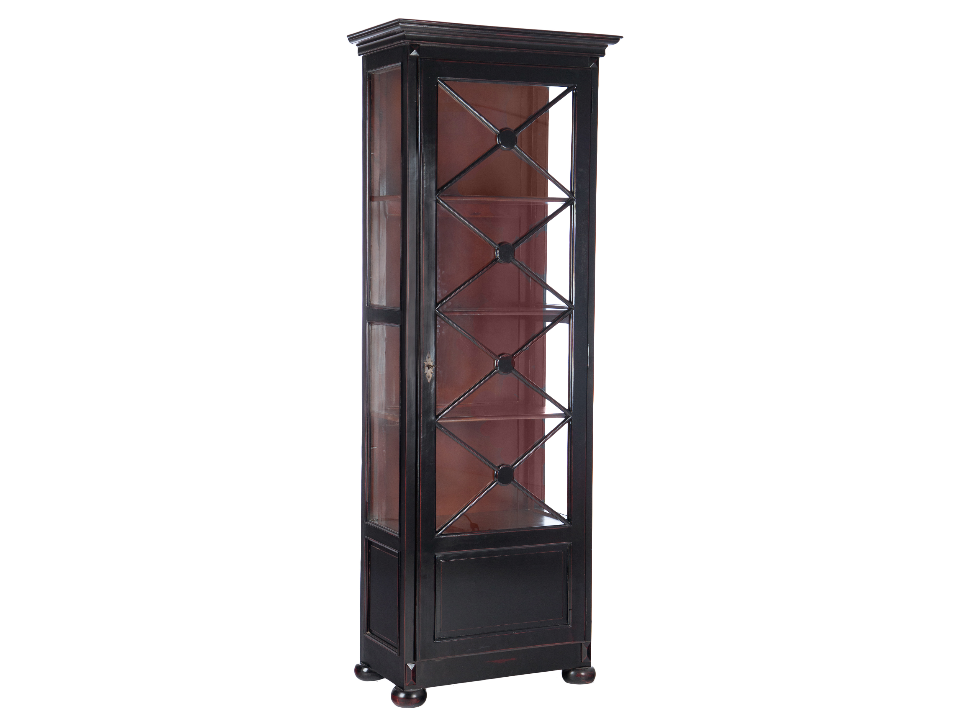 Библиотека АдамКнижные шкафы и библиотеки<br>Библиотека (витрина). Декорированная дверца со стеклом, стекло по бокам. Цвет черный с красноватой патиной, внутри коричневый.&amp;amp;nbsp;<br><br>Material: Красное дерево<br>Ширина см: 82<br>Высота см: 220<br>Глубина см: 47
