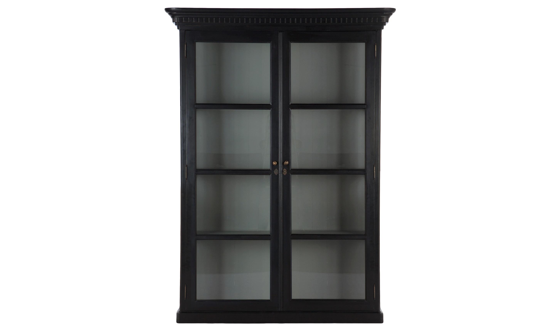 ВитринаВитрины<br>Витрина из массива березы, черный цвет снаружи, серый внутри. Боковины со стеклом.<br><br>Material: Береза<br>Ширина см: 158<br>Высота см: 218<br>Глубина см: 47
