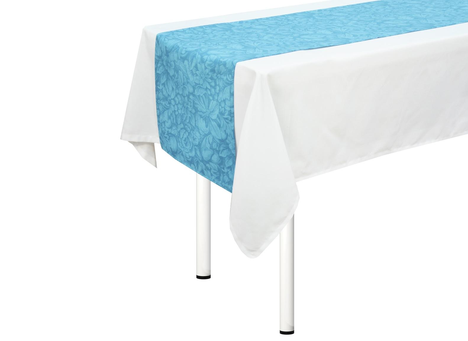 Дорожка на стол Lorret  azureСкатерти<br>Скатерть узкая на стол. Подойдет для романтического стиля и настроения. Яркий дизайн. Ткань прочная ,износоустойчивая.<br><br>Material: Хлопок<br>Length см: None<br>Width см: 170<br>Height см: 40
