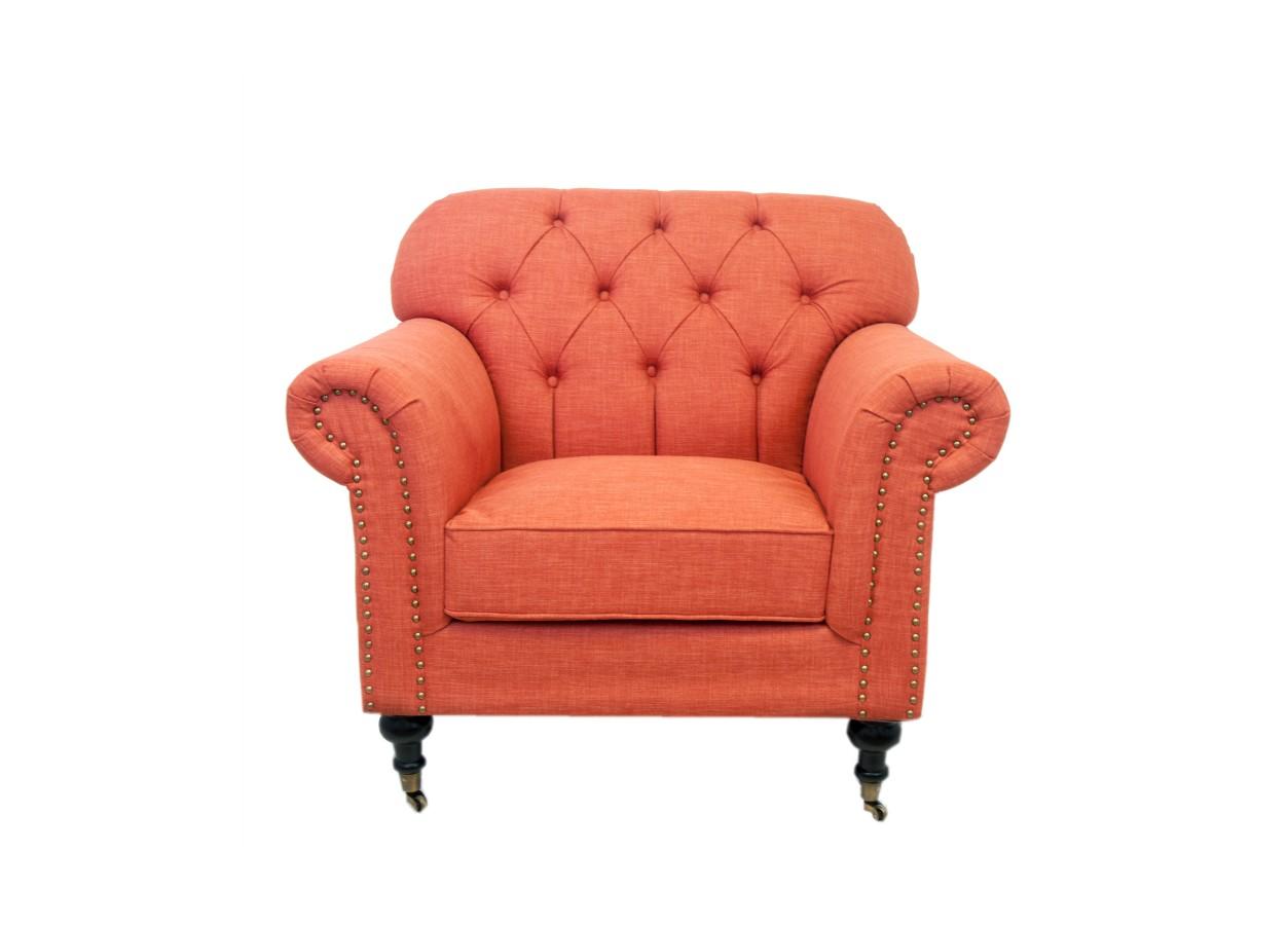 Кресло KavitaИнтерьерные кресла<br>Мягкие, плавные формы — это кресло не оставит равнодушным никого! Оранжевое кресло Kavita — вполне самодостаточная модель не требующая дополнений. Оно достойно украсит гостиную, отлично приживется в спальне. Облегчить передвижение этого очаровательного кресла помогут маленькие колесики, придающие особый шарм.<br><br>Material: Лен<br>Ширина см: 96<br>Высота см: 88<br>Глубина см: 90