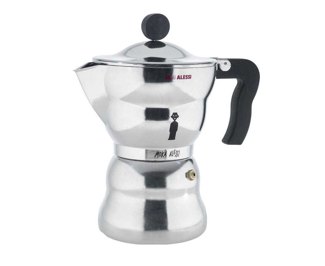 Кофеварка для эспрессо moka alessi (alessi) серебристый 20 см.