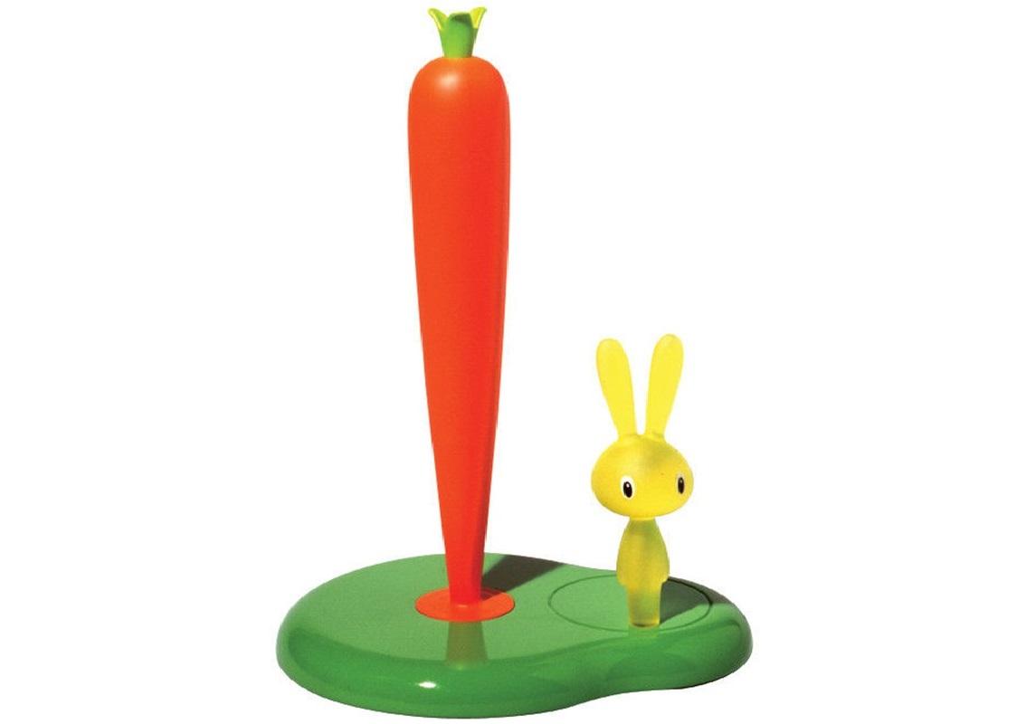 Держатель для бумажных полотенец bunny&amp;carrotАксессуары для кухни<br>Оригинальный держатель для бумажных полотенец от дизайнера Стефано Джованнони. Звериные образы, юмористические персонажи и необычный взгляд на привычные предметы — узнаваемые черты, присущие творчеству одного из главных дизайнеров Alessi.&amp;amp;nbsp;<br><br>Material: Пластик<br>Width см: 20,2<br>Depth см: 16<br>Height см: 29,4