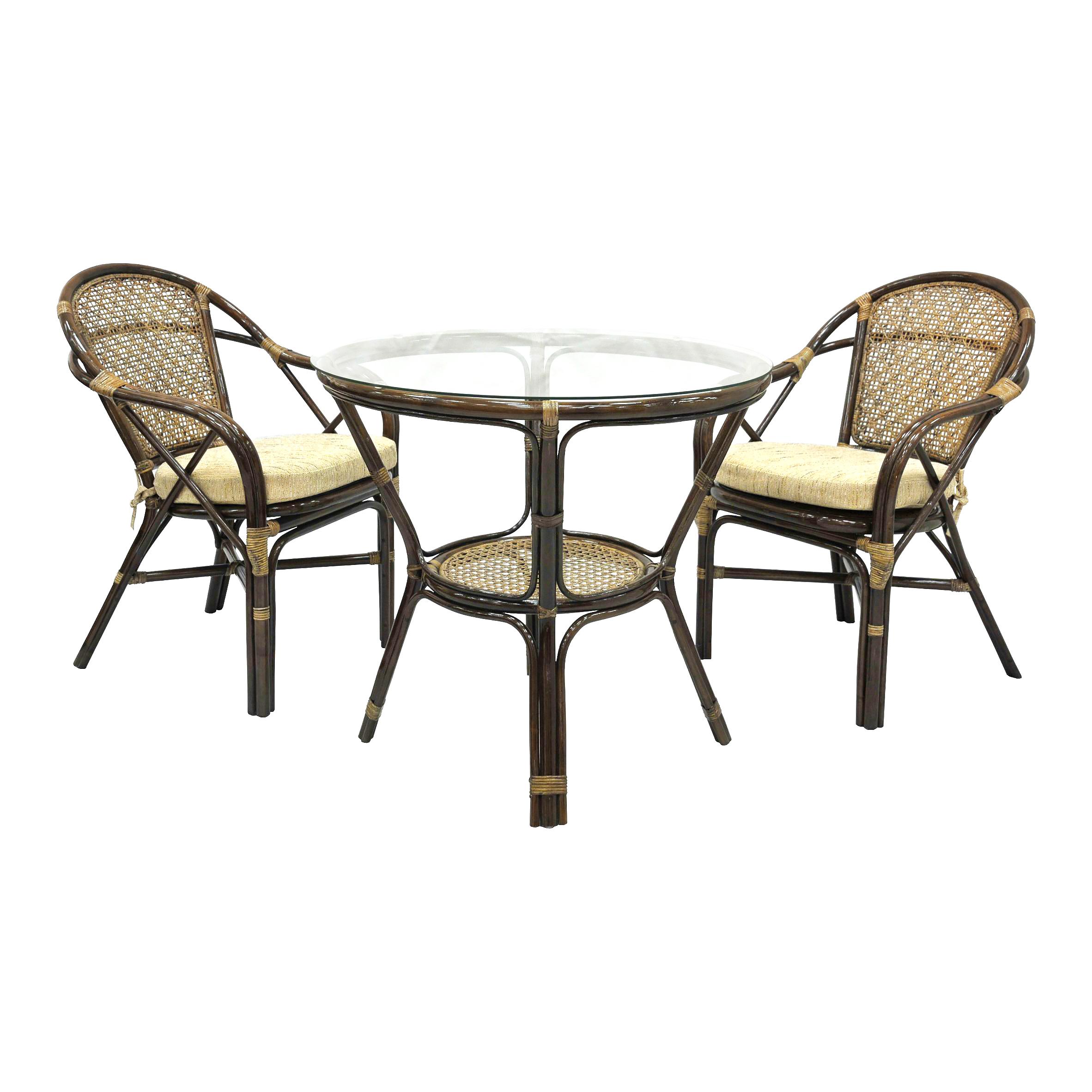 Комплект обеденный Ellena (стол+2 кресла)&amp;lt;div&amp;gt;&amp;lt;div&amp;gt;Комплект состоит из обеденного стола со стеклом на присосках и двух стульев с мягкими подушками на сидении.&amp;lt;/div&amp;gt;&amp;lt;div&amp;gt;&amp;lt;br&amp;gt;&amp;lt;/div&amp;gt;Материал каркаса: натуральный ротанг.&amp;lt;div&amp;gt;Мягкая обивка/подушка: ткань рогожка.&amp;lt;/div&amp;gt;&amp;lt;div&amp;gt;Размер столика: диаметр 74 см, высота 78 см.&amp;lt;/div&amp;gt;&amp;lt;div&amp;gt;Размер каждого стула: 63х88х70 см.&amp;lt;/div&amp;gt;&amp;lt;/div&amp;gt;<br><br>Material: Ротанг<br>Width см: None<br>Depth см: None<br>Height см: 78<br>Diameter см: 74
