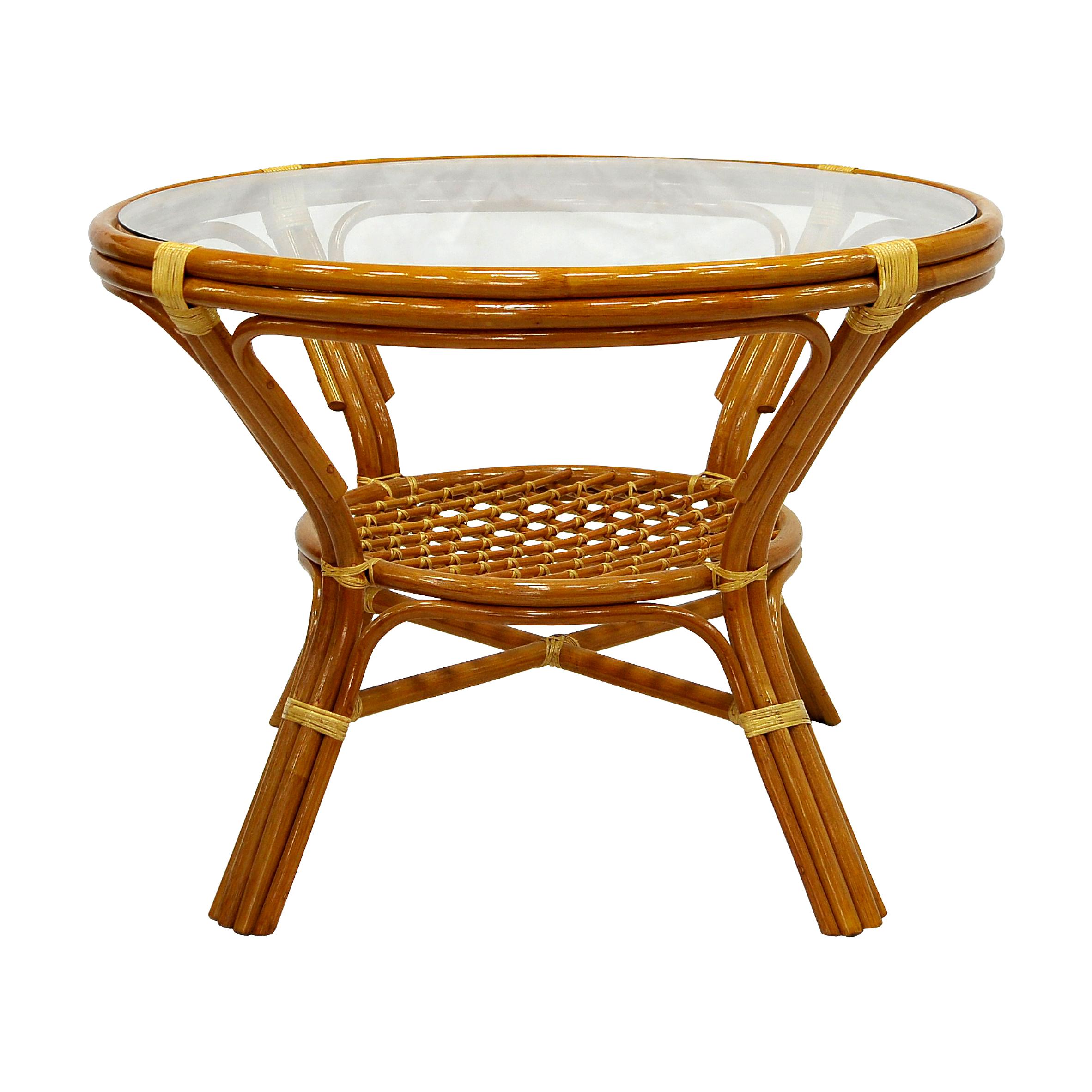 Стол обеденныйСтолы для улицы<br>Плетеный стол из ротанга Вы можете использовать и на свежем воздухе, ведь ротанг - устойчив к изменению температуры, не гниет, не выцветает на солнце. Стекло вставляется в паз.<br><br>Material: Ротанг<br>Height см: 75<br>Diameter см: 104