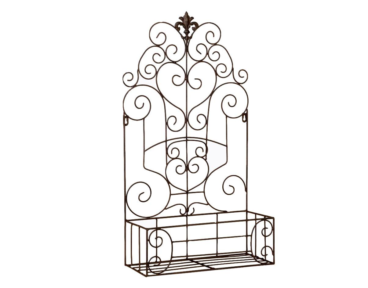 Полка-жардиньерка Люксембургский садПолки<br>Плавный кружевной узор полки &amp;quot;Люксембургский сад&amp;quot; вдыхает в интерьер романтически-беззаботную атмосферу. Мотивы дворцового классицизма, исполненные в модной манере &amp;quot;шебби-шик&amp;quot;, гарантируют Вам точное попадание в любой интерьерный стиль. Вы можете использовать полку и на открытом воздухе, например, для внешнего украшения загородного дома. Благодаря гальваническому покрытию и порошковой окраске, металл устойчив к влаге и высоким температурам.<br><br>Material: Металл<br>Width см: 35<br>Depth см: 13<br>Height см: 66