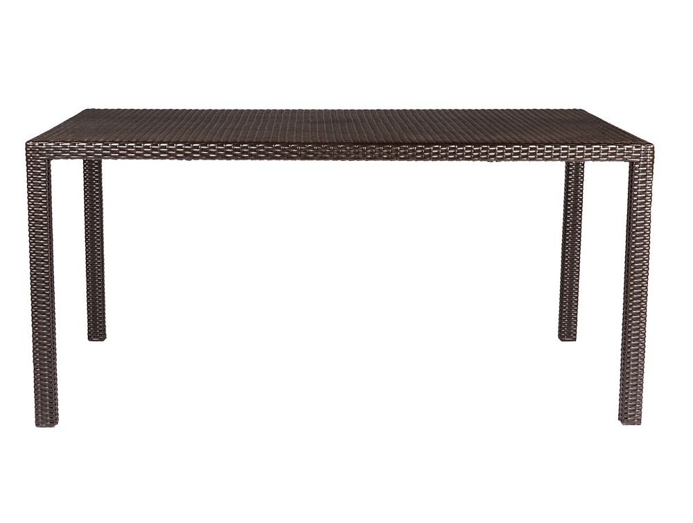 Стол TallaСтолы и столики для сада<br>Cтол выполнен из основательного алюминиевого каркаса вручную оплетенного синтетическим волокном,  обладает устойчивостью к суровым климатическими условиями, резким перепадам температуры, дождю и УФ-лучам.&amp;amp;nbsp;&amp;lt;div&amp;gt;&amp;lt;br&amp;gt;&amp;lt;/div&amp;gt;&amp;lt;div&amp;gt;Может быть выполнен в  цвете плетения : венге.&amp;amp;nbsp;&amp;lt;/div&amp;gt;&amp;lt;div&amp;gt;В комплект входит каленое стекло.&amp;lt;/div&amp;gt;<br><br>Material: Искусственный ротанг<br>Length см: None<br>Width см: 160<br>Depth см: 90<br>Height см: 76