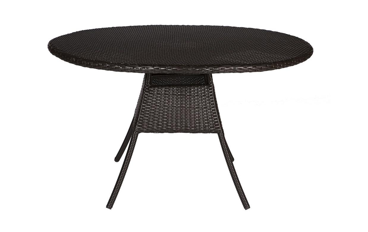 Стол TallaСтолы и столики для сада<br>Cтол выполнен из основательного алюминиевого каркаса вручную оплетенного синтетическим волокном,  обладает устойчивостью к суровым климатическими условиями, резким перепадам температуры, дождю и УФ-лучам.&amp;amp;nbsp;&amp;lt;div&amp;gt;&amp;lt;br&amp;gt;&amp;lt;/div&amp;gt;&amp;lt;div&amp;gt;Мможет быть выполнен в  цвете плетения : венге. В комплект входит каленое стекло.&amp;lt;/div&amp;gt;<br><br>Material: Искусственный ротанг<br>Height см: 75<br>Diameter см: 120
