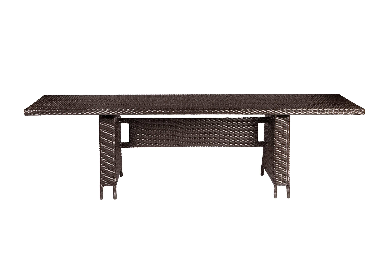 Стол TallaСтолы и столики для сада<br>Cтол выполнен из основательного алюминиевого каркаса вручную оплетенного синтетическим волокном,  обладает устойчивостью к суровым климатическими условиями, резким перепадам температуры, дождю и УФ-лучам.&amp;amp;nbsp;&amp;lt;div&amp;gt;&amp;lt;br&amp;gt;&amp;lt;/div&amp;gt;&amp;lt;div&amp;gt;Выполнен в  цвете плетения : венге. В комплект входит каленое стекло.&amp;lt;/div&amp;gt;<br><br>Material: Ротанг<br>Length см: None<br>Width см: 270<br>Depth см: 76<br>Height см: 90