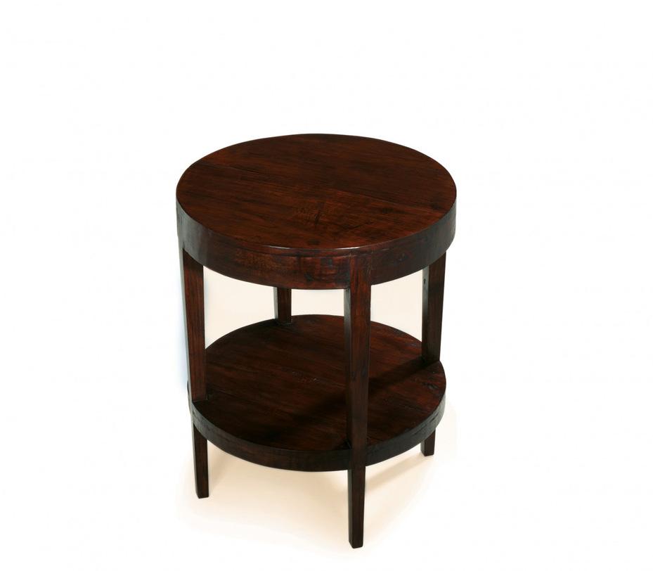 Стол ChantalПриставные столики<br>Круглый консольный стол из массива тика с полкой. Возможен в светло-коричневом и темно-коричневом цветах.<br><br>Material: Тик<br>Length см: 60.0<br>Width см: 60.0<br>Depth см: None<br>Height см: 76.0<br>Diameter см: None