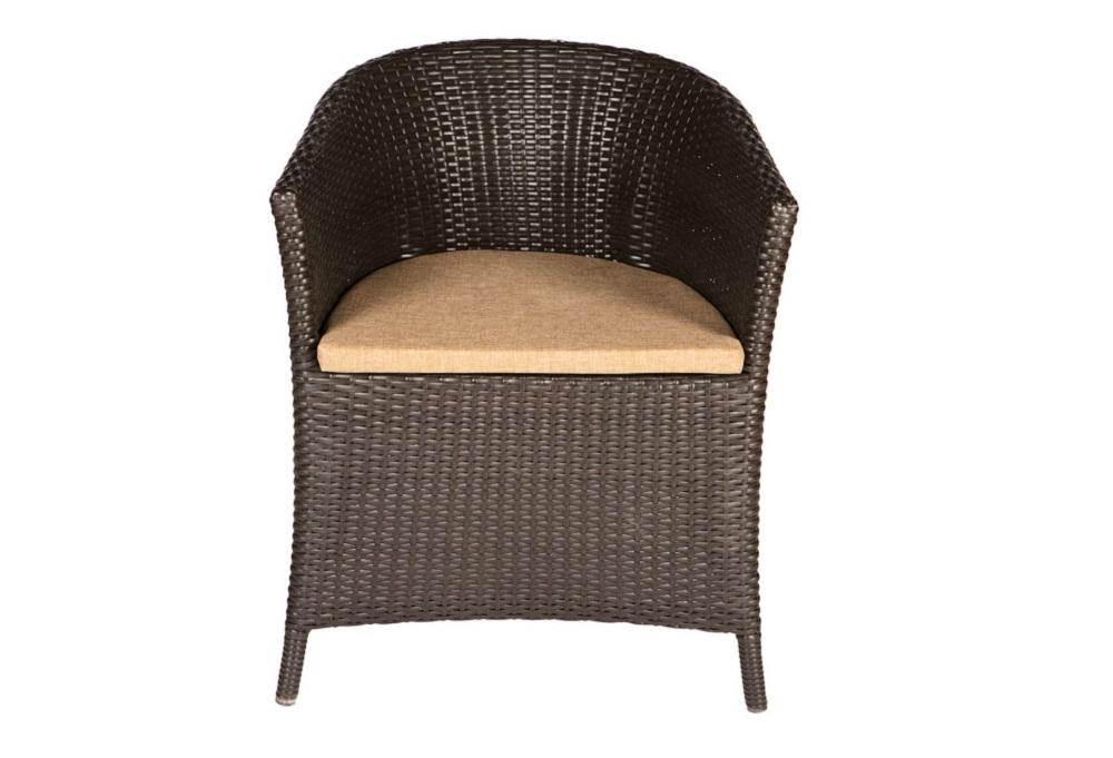 Кресло GellaКресла для сада<br>Кресло выполнено из основательного алюминиевого каркаса вручную оплетенного синтетическим волокном,  обладает устойчивостью к суровым климатическими условиями, резким перепадам температуры, дождю и УФ-лучам.&amp;amp;nbsp;&amp;lt;div&amp;gt;&amp;lt;br&amp;gt;&amp;lt;/div&amp;gt;&amp;lt;div&amp;gt;Модуль может быть выполнен в следующих цветах плетения : венге, тигр, серый. Подушки выполнены из ткани, которая легко чистится и не впитывает влагу в цвете Gold.&amp;lt;/div&amp;gt;<br><br>Material: Искусственный ротанг<br>Ширина см: 61<br>Высота см: 76<br>Глубина см: 49