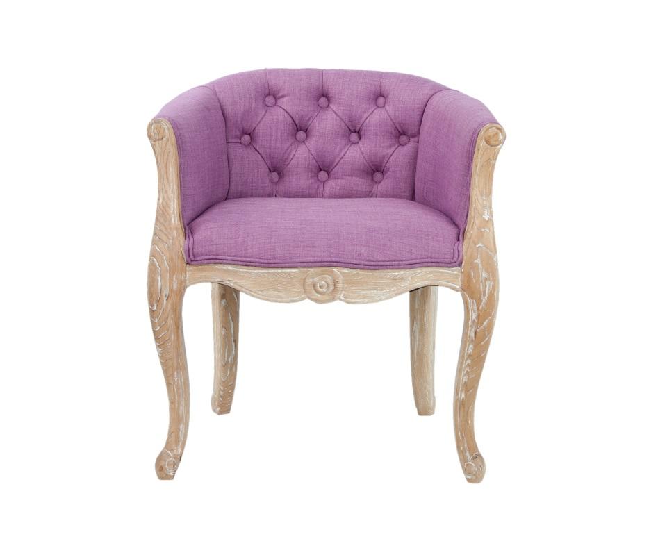 Кресло KandyПолукресла<br>Роскошные классические формы кресла Kandy как нельзя лучше передают настроение французского стиля прованс. Кресло с основанием из натурального дерева, искусственно состаренного, для придания эффекта винтажности, спинка выполнена в технике каретная стяжка. Такое очаровательное кресло отлично уживется в интерьере классического современного стиля.<br><br>Material: Лен<br>Width см: 62<br>Depth см: 55<br>Height см: 70
