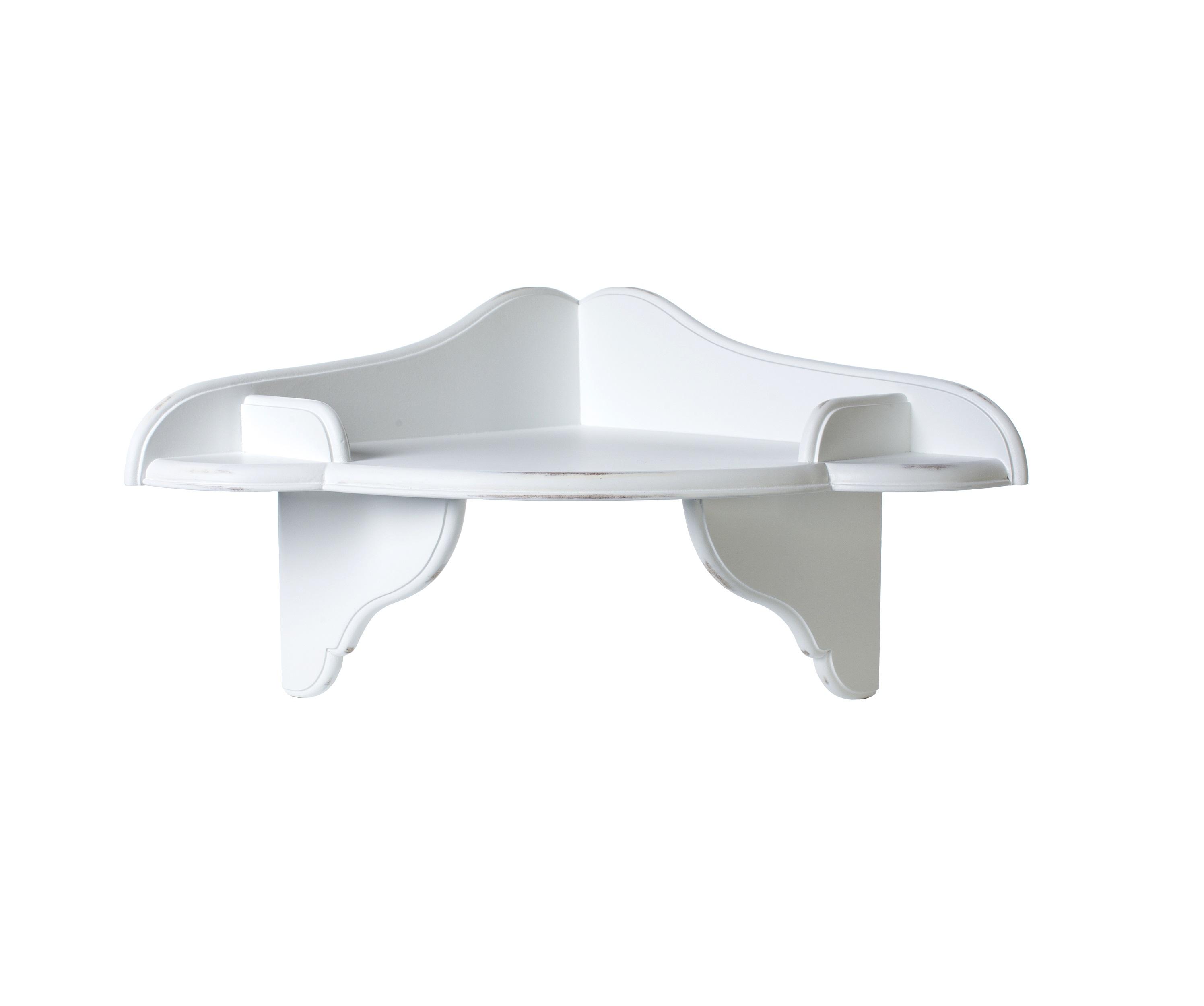 Полочка угловая декоративная Снежный ПровансПолки<br>Белая мебель Прованс для гостиной, спальни, столовой, кабинета отлично впишется в Ваш загородный дом. Белая высококачественная мебель &amp;quot;Снежный Прованс&amp;quot; также может послужить в качестве обстановки детской комнаты подростка. Это функциональная удобная мебель европейского качества. Коллекция изготовлена из массива бука (каркасы и точеные элементы мебели) и из высококачественного МДФ (филенчатые части) и соответствует немецким стандартам для детской мебели.<br>Мебель &amp;quot;Снежный Прованс&amp;quot; имеет плавные изогнутые формы и украшена потертым вручную декором в виде оливковой ветви. Полка угловая открытая белая с потертостями, выполненными вручную в стиле Прованс  Ля Нэж из массива бука, с элементами из МДФ высокого качества, водный матовый лак<br><br>Material: Бук<br>Length см: None<br>Width см: 46<br>Depth см: 46<br>Height см: 30<br>Diameter см: 44