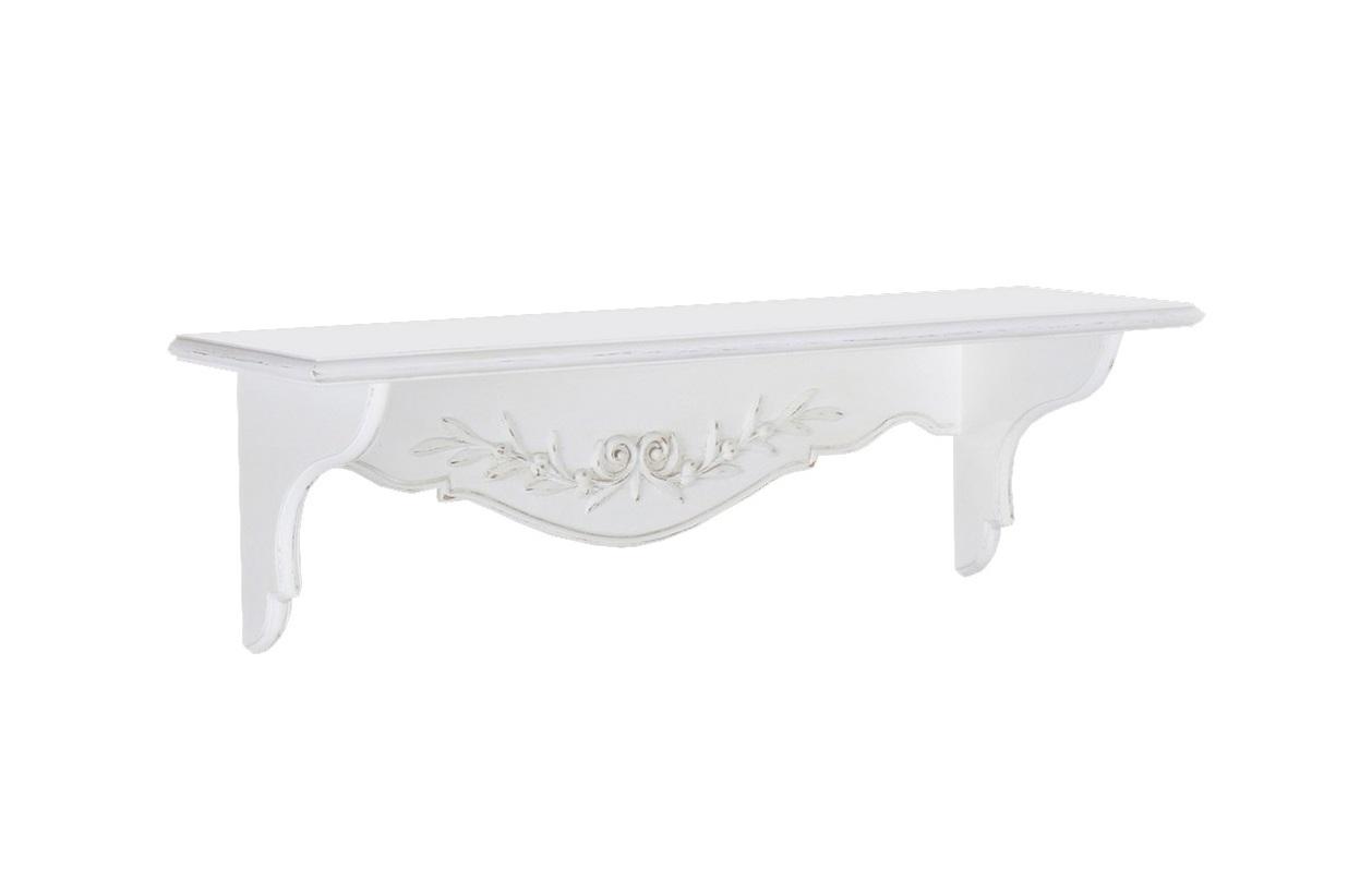 Полочка декоративная Снежный ПровансПолки<br>Белая мебель Прованс для гостиной, спальни, столовой, кабинета отлично впишется в Ваш загородный дом. Белая высококачественная мебель &amp;quot;Снежный Прованс&amp;quot; также может послужить в качестве обстановки детской комнаты подростка. Это функциональная удобная мебель европейского качества. Коллекция изготовлена из массива бука (каркасы и точеные элементы мебели) и из высококачественного МДФ (филенчатые части) и соответствует немецким стандартам для детской мебели.<br>Мебель &amp;quot;Снежный Прованс&amp;quot; имеет плавные изогнутые формы и украшена потертым вручную декором в виде оливковой ветви. Полка маленькая открытая белая с потертостями, выполненными вручную в стиле Прованс  Ля Нэж из массива бука, с элементами из МДФ высокого качества, водный матовый лак<br><br>Material: Бук<br>Ширина см: 82<br>Высота см: 20<br>Глубина см: 21