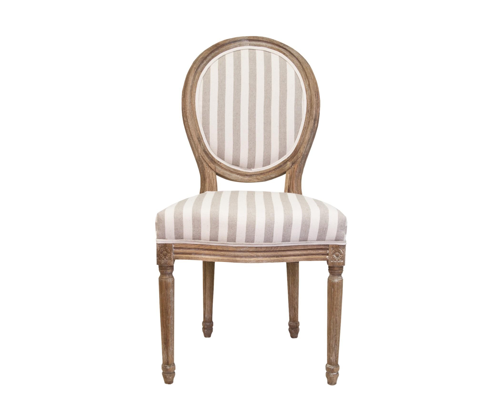 Стул Miro pinstripeОбеденные стулья<br>Изысканный стул Miro с округлой спинкой напоминающей медальон, выполнен в элегантном классическом французском стиле. Основание модели выполнено из цельной породы древесины - массива дуба, искусственно состаренного. Такой стул эффектно смотрится как в контрастной, так и в однотонной обстановке. &amp;amp;nbsp;<br><br>Material: Дуб<br>Width см: 50<br>Depth см: 56<br>Height см: 96