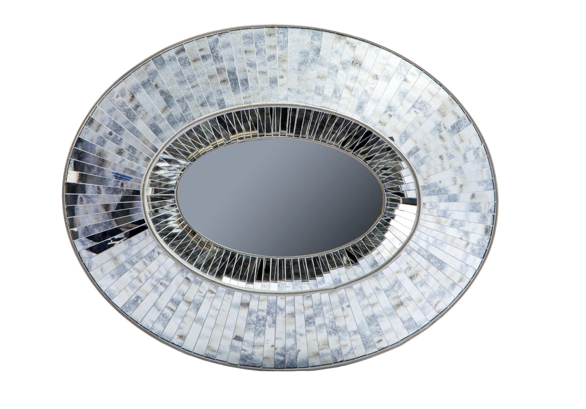 Зеркало в стиле арт-декоНастенные зеркала<br>Зеркало овальное в стиле арт-деко. Рама декорирована вставками из зеркального стекла.&amp;lt;div&amp;gt;&amp;lt;br&amp;gt;&amp;lt;/div&amp;gt;&amp;lt;div&amp;gt;Материал: зеркальное стекло&amp;lt;br&amp;gt;&amp;lt;/div&amp;gt;<br><br>Material: Стекло<br>Width см: 103<br>Depth см: 10<br>Height см: 83