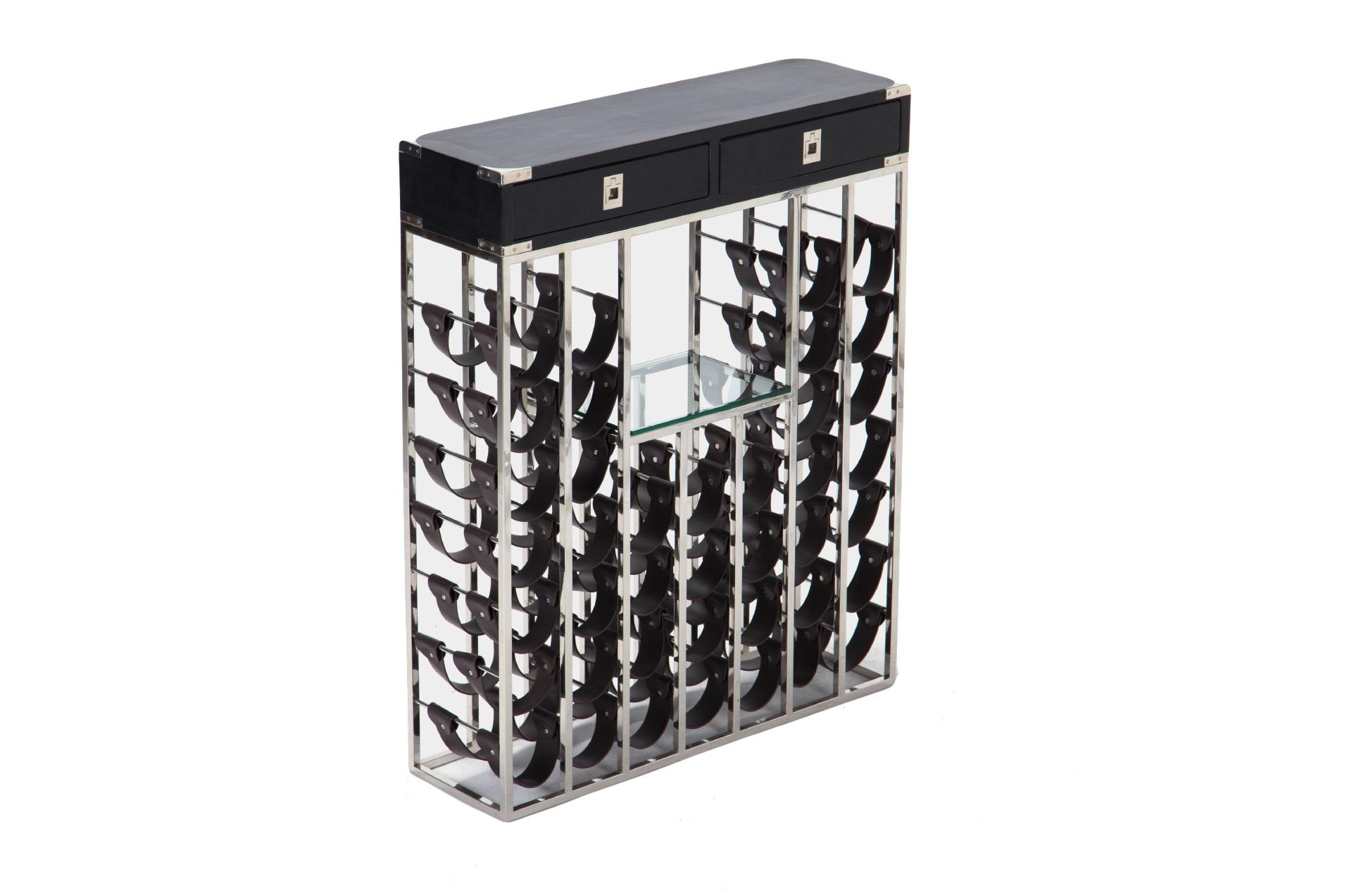 Винный барВинные стеллажи<br>Винный бар из стали с двумя выдвижными ящиками и полочкой из стекла. Верх изготовлен из дерева (береза).<br><br>Material: Стекло<br>Width см: 84<br>Depth см: 25<br>Height см: 104