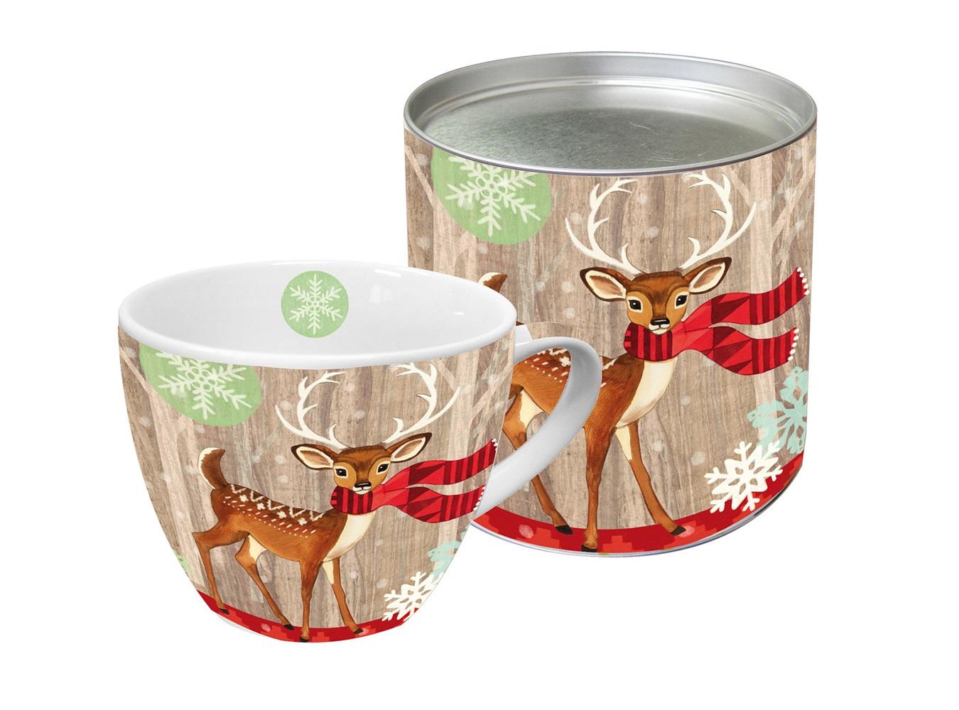 Кружка Deer with scarfСтаканы и кружки<br>Яркая большая кружка будет прекрасным рождественским подарком для друзей, а также родных и близких людей. Это не только красивый, но и функциональный подарок, который не оставит равнодушным даже самого взыскательного любителя ароматного чая.<br>Модель выполнена из высококачественного фарфора, благодаря чему прекрасно подойдет для использования в микроволновой печи и посудомоечной машине. Кружка имеет большой объем – 0,45 Л, поэтому подходит для чая, пунша, морса и других любимых напитков. Отличительная особенность – это сочный красочный принт в виде оленя с шарфом. К кружке прилагается подарочная коробка с идентичным дизайном.<br><br>Material: Фарфор<br>Height см: 9,5<br>Diameter см: 10,7