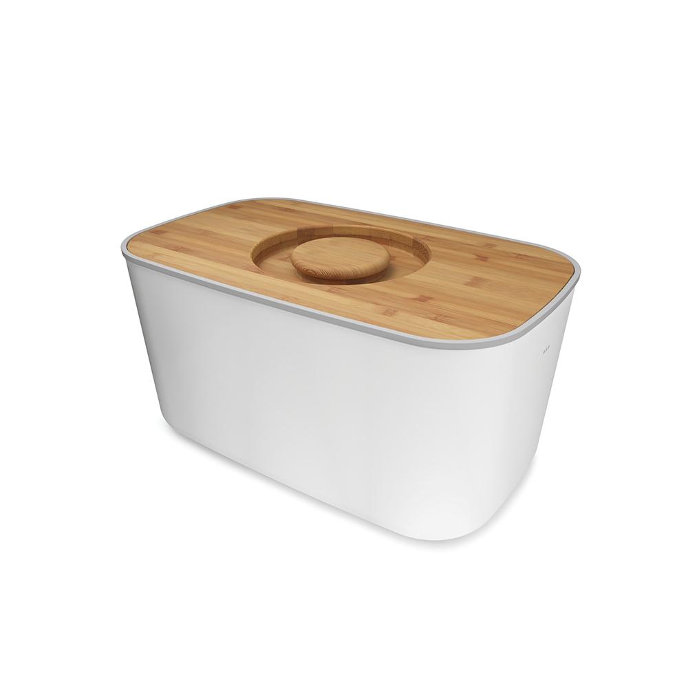 Хлебница с разделочной доскойХлебница<br>Компактная стальная хлебница с бамбуковой крышкой и нескользящими ножками. Благодаря материалу, из которого изготовлена хлебница, батоны и багеты подолгу остаются свежими и не впитывают посторонние запахи. Кроме того, такую хлебницу очень легко мыть, а сам материал исключает появление трещин и царапин на поверхности изделия. <br>Крышку можно также использовать как доску для резки – эта удобная задумка помогает сэкономить пространство на кухне. Специальные углубления внутри доски не позволят хлебным крошкам высыпаться на рабочую поверхность.&amp;lt;div&amp;gt;&amp;lt;br&amp;gt;&amp;lt;/div&amp;gt;&amp;lt;div&amp;gt;Основу можно мыть в посудомоечной машине.&amp;lt;/div&amp;gt;&amp;lt;div&amp;gt;Для крышки рекомендовано только ручное мытье и сушка.&amp;lt;/div&amp;gt;<br><br>Material: Сталь<br>Width см: 35,5<br>Depth см: 21,5<br>Height см: 17,8