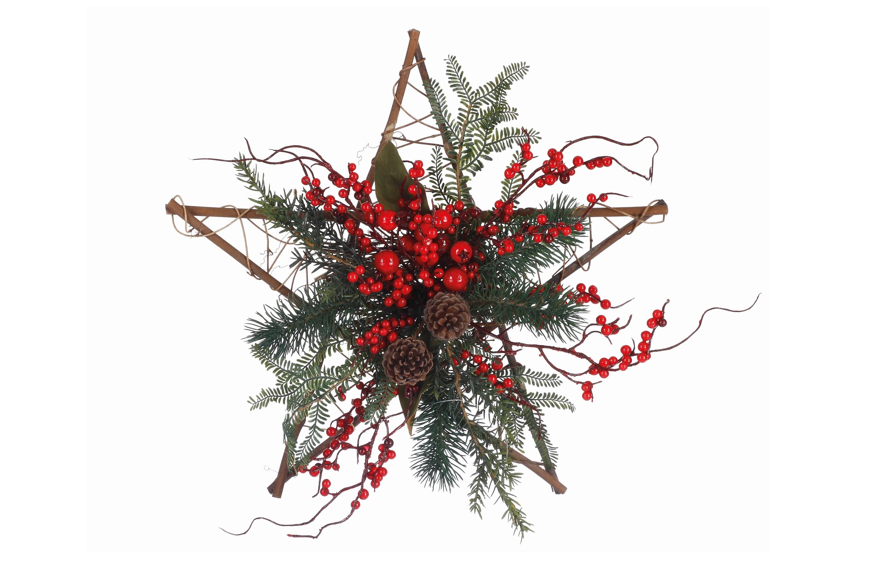 Рождественская звезда с ягодамиНовогодний декор<br><br><br>Material: Пластик<br>Width см: 45<br>Depth см: 6<br>Height см: 45