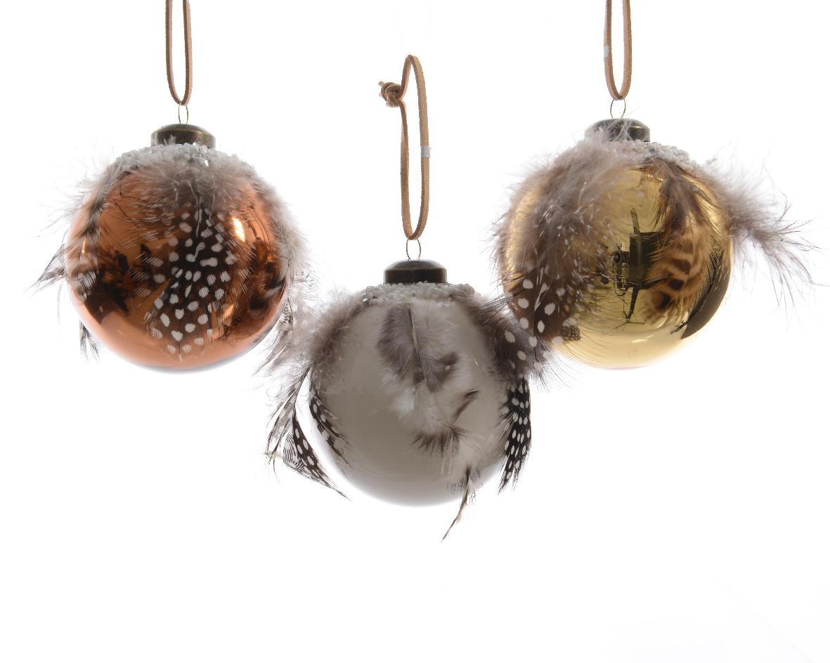 Набор шаров с перьями (12шт)Новогодние игрушки<br><br><br>Material: Стекло<br>Width см: None<br>Depth см: None<br>Height см: 8<br>Diameter см: 8