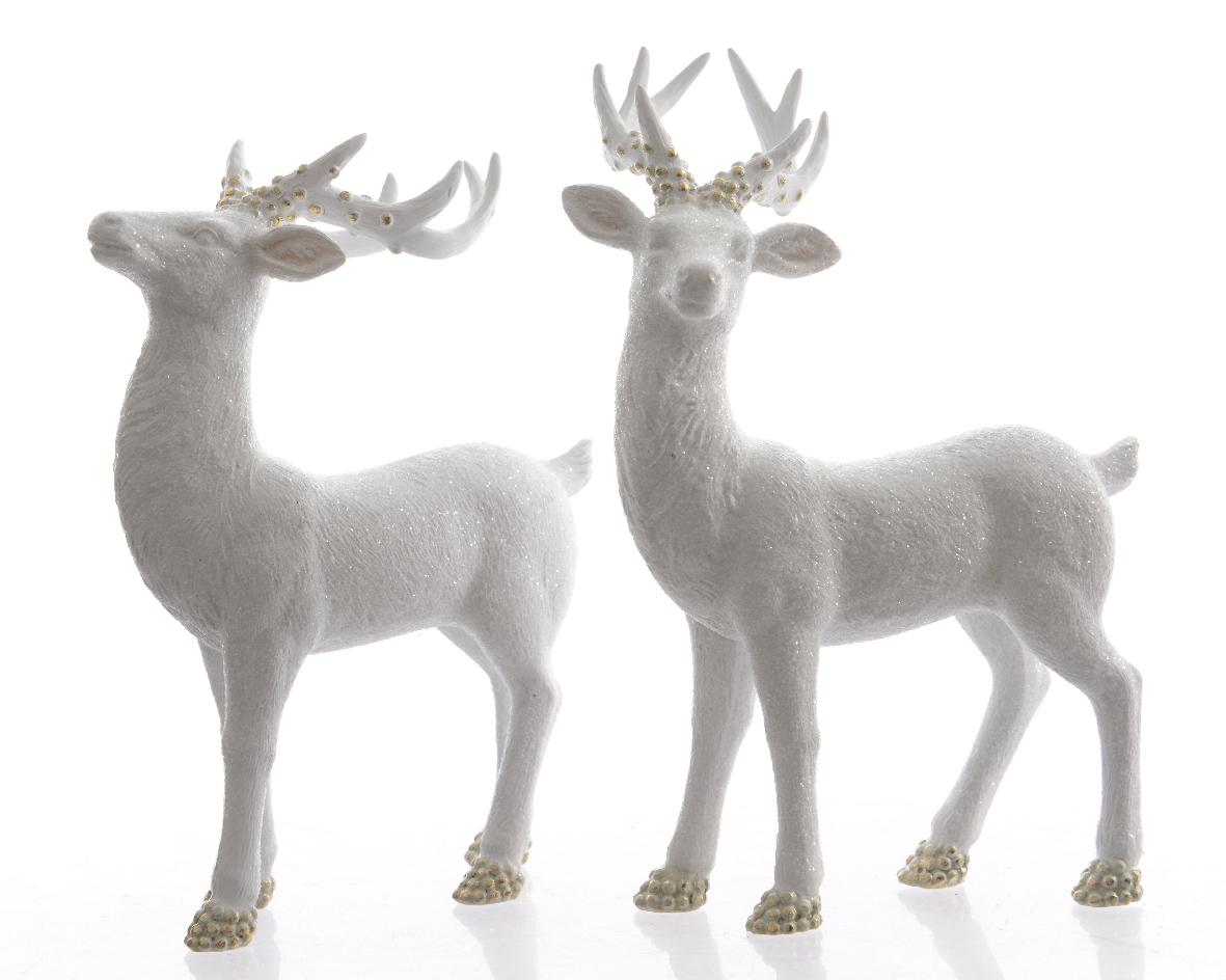 Набор оленей (2шт)Новогодний декор<br><br><br>Material: Полистоун<br>Width см: 12<br>Depth см: 7<br>Height см: 18