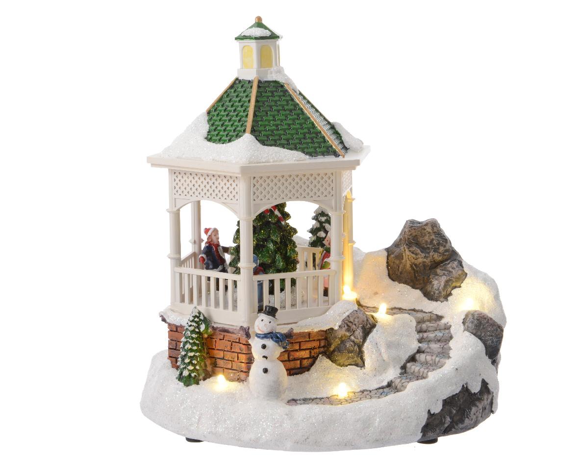Рождественская беседка движущаяся со светомНовогодний декор<br><br><br>Material: Полистоун<br>Width см: 18<br>Depth см: 14<br>Height см: 19