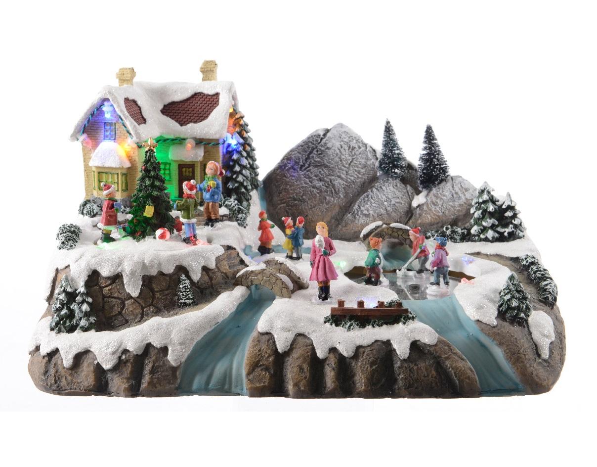 Рождественская деревня движущаяся с музыкой и светомНовогодний декор<br><br><br>Material: Полистоун<br>Width см: 30<br>Depth см: 17<br>Height см: 19