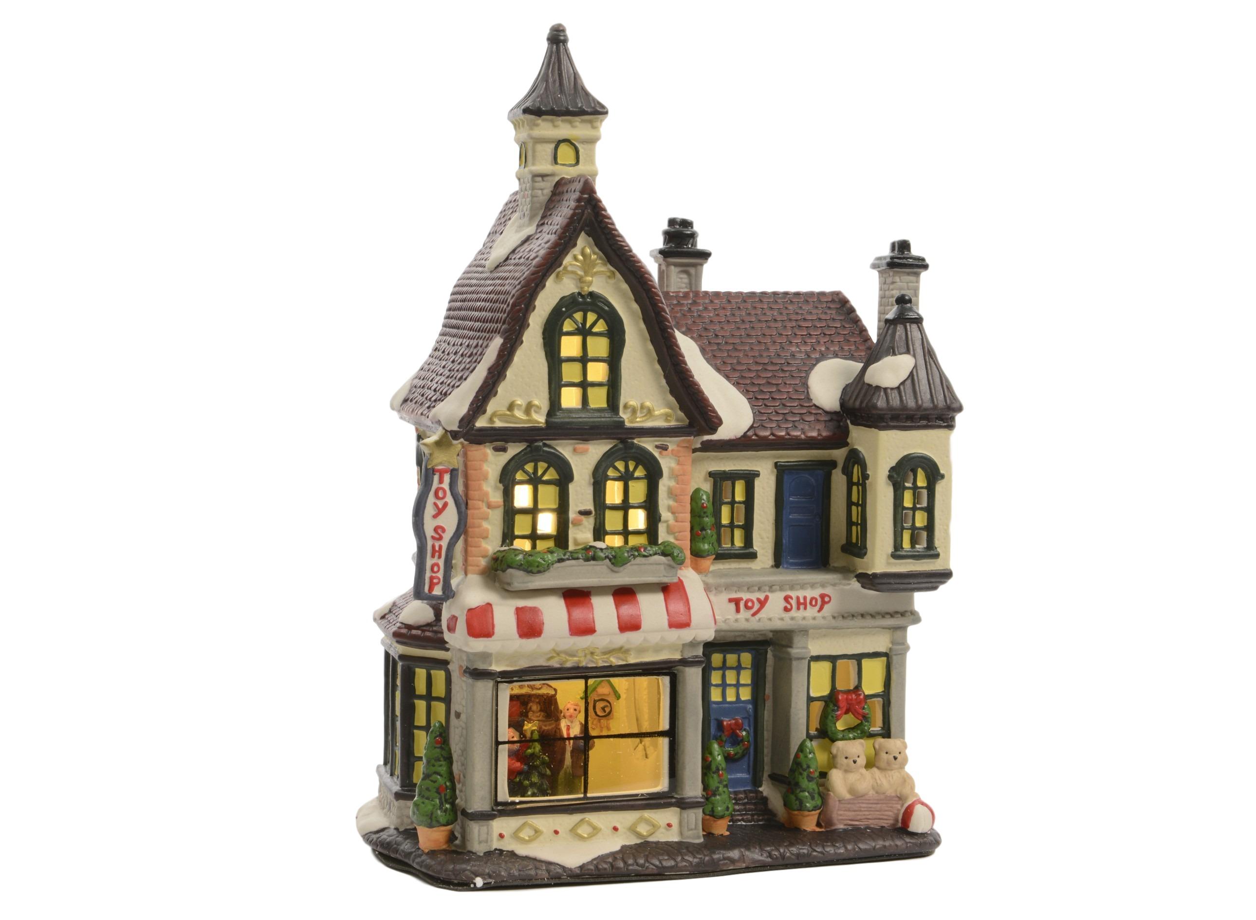 Домик Магазин игрушек светодиодныйНовогодний декор<br>батарейки в комплект не входят<br><br>Material: Полистоун<br>Width см: 20<br>Depth см: 12<br>Height см: 27