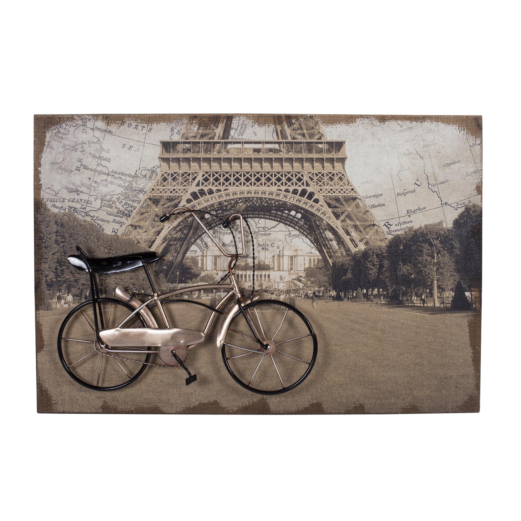 Декоративное настенное панно Paris StoryПанно<br>Очарование Парижа в одной картине. Украшать стены дома остается одним из самых приятных занятий для создания дополнительного уюта комнаты и ярких штрихов и деталей. Всем известно, что голые стены — это скучно. Да и простыми картинами и постерами давно никого не удивишь. Если вы готовы к новаторскому искусству, то панно Paris Story придётся вам по вкусу. Эта картина выполнена практически в 3D технике — её можно не только разглядывать и показывать гостям, но и трогать. Велосипедная коллекция декоративных панно пользуется популярностью и представляет собой композицию из разных техник. Панно выполнено на окрашенном холсте МДФ. Сверху располагается металлический велосипед, как символ практически главного средства передвижения по узким парижским улочкам. Некоторые детали выполнены также из ткани. Такое панно добавит декораторской изюминки в современный интерьер или кантри.<br><br>Material: Текстиль<br>Width см: 60<br>Depth см: 4<br>Height см: 40