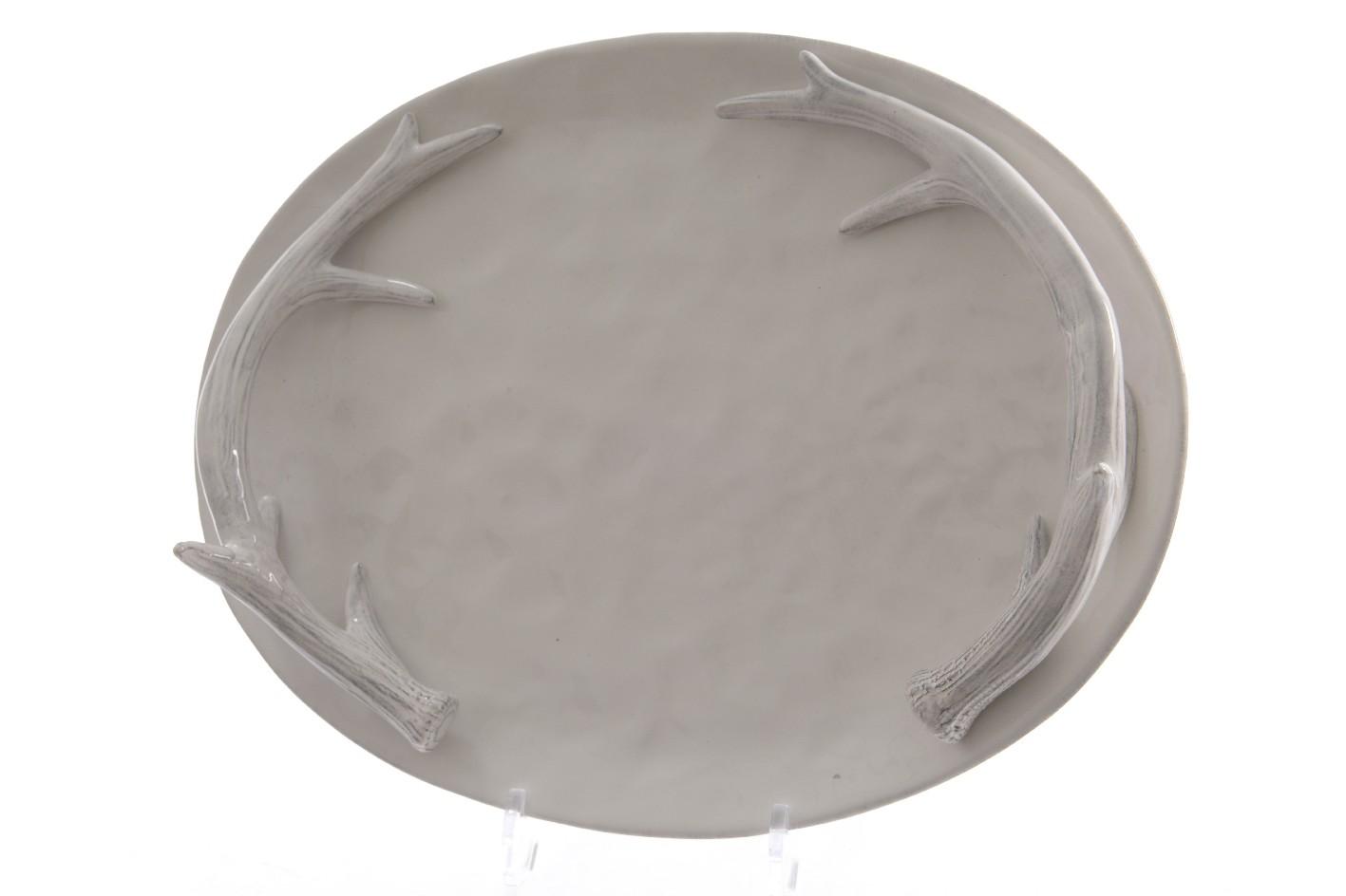 Сервировочное блюдо с рогамиДекоративные блюда<br>Материал: доломит<br><br>Material: Камень<br>Width см: 30<br>Depth см: 9<br>Height см: 39