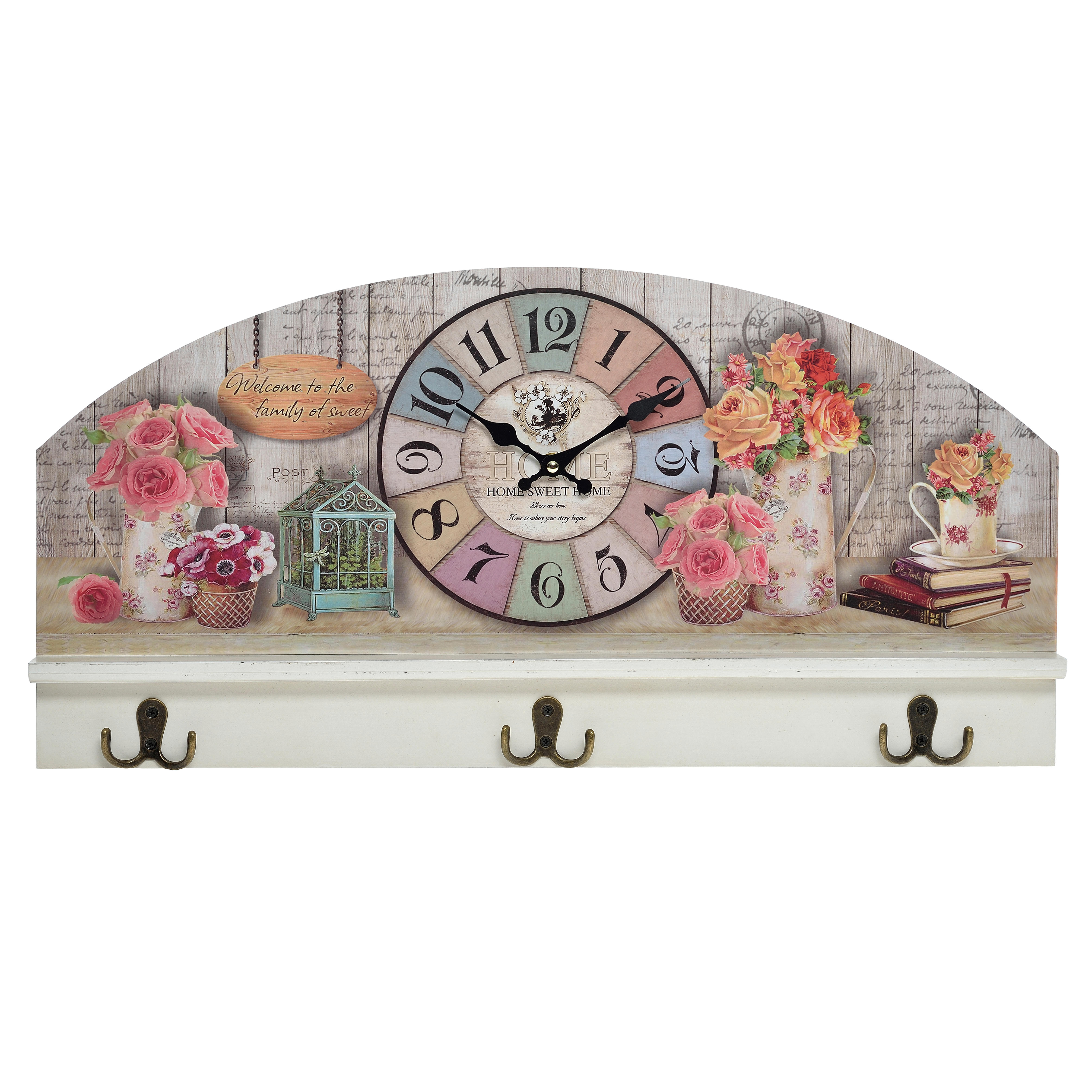 Часы настенные с вешалкой RosmaryНастенные часы<br>&amp;lt;span style=&amp;quot;font-size: 14px;&amp;quot;&amp;gt;Кварцевый механизм.&amp;lt;/span&amp;gt;<br><br>Material: Дерево<br>Width см: 59<br>Depth см: 6<br>Height см: 29