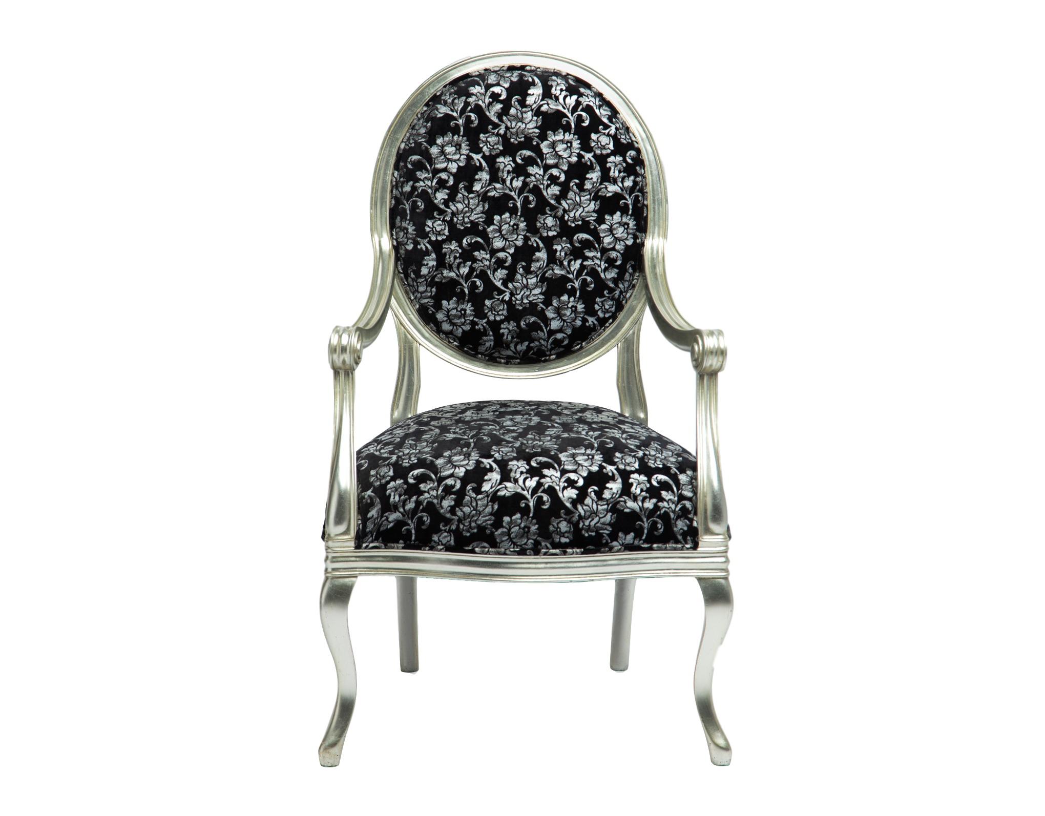 ПолукреслоПолукресла<br>Серебряное кресло с мягкой спинкой-медальон, черная обивка с серебристым рисунком.&amp;lt;div&amp;gt;&amp;lt;br&amp;gt;&amp;lt;/div&amp;gt;&amp;lt;div&amp;gt;Материал: махагони.&amp;lt;br&amp;gt;&amp;lt;/div&amp;gt;<br><br>Material: Текстиль<br>Width см: 65<br>Depth см: 58<br>Height см: 106