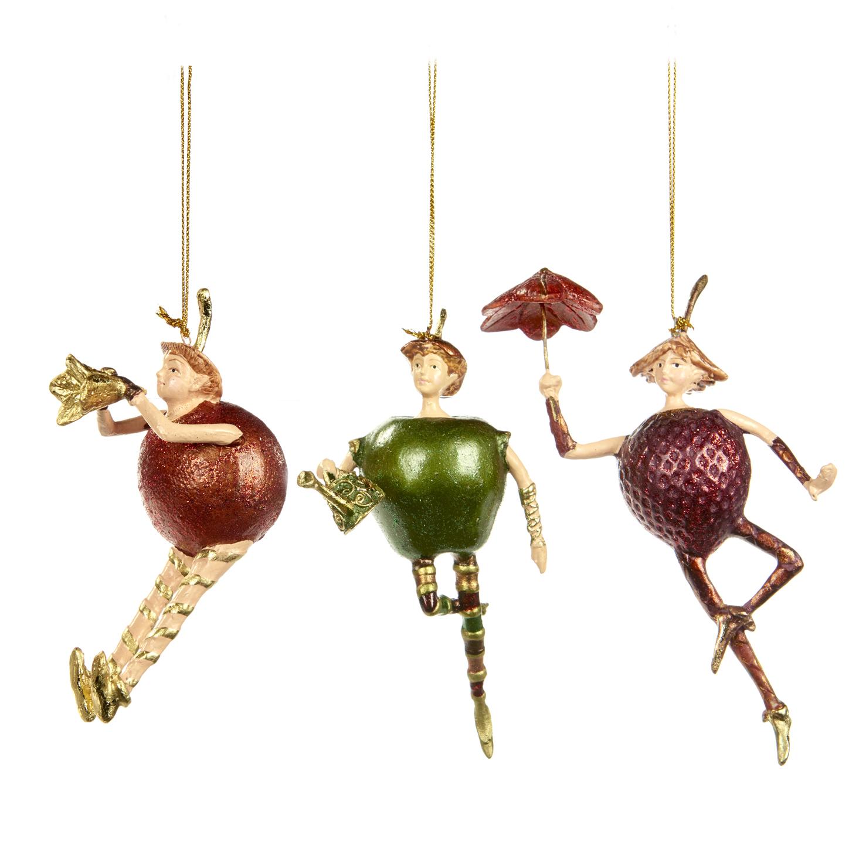 Набор из трех фруктовых эльфов на ёлкуНовогодние игрушки<br>Авторская коллекция, ручная работа.<br><br>Material: Полистоун<br>Width см: 7<br>Depth см: 7<br>Height см: 14