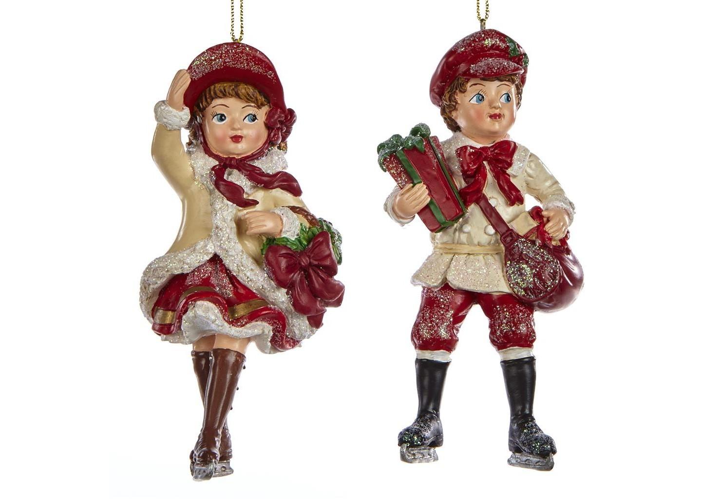Набор украшений Викторианские дети с подарками (2шт)Новогодние игрушки<br><br><br>Material: Полистоун<br>Width см: 6<br>Depth см: 5<br>Height см: 12