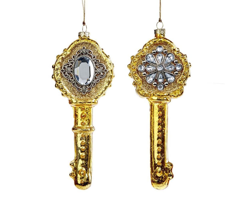 Набор ёлочных украшений Старинные ключи (2шт)Новогодние игрушки<br>авторская ручная работа<br><br>Material: Стекло<br>Width см: 8<br>Depth см: 4<br>Height см: 17