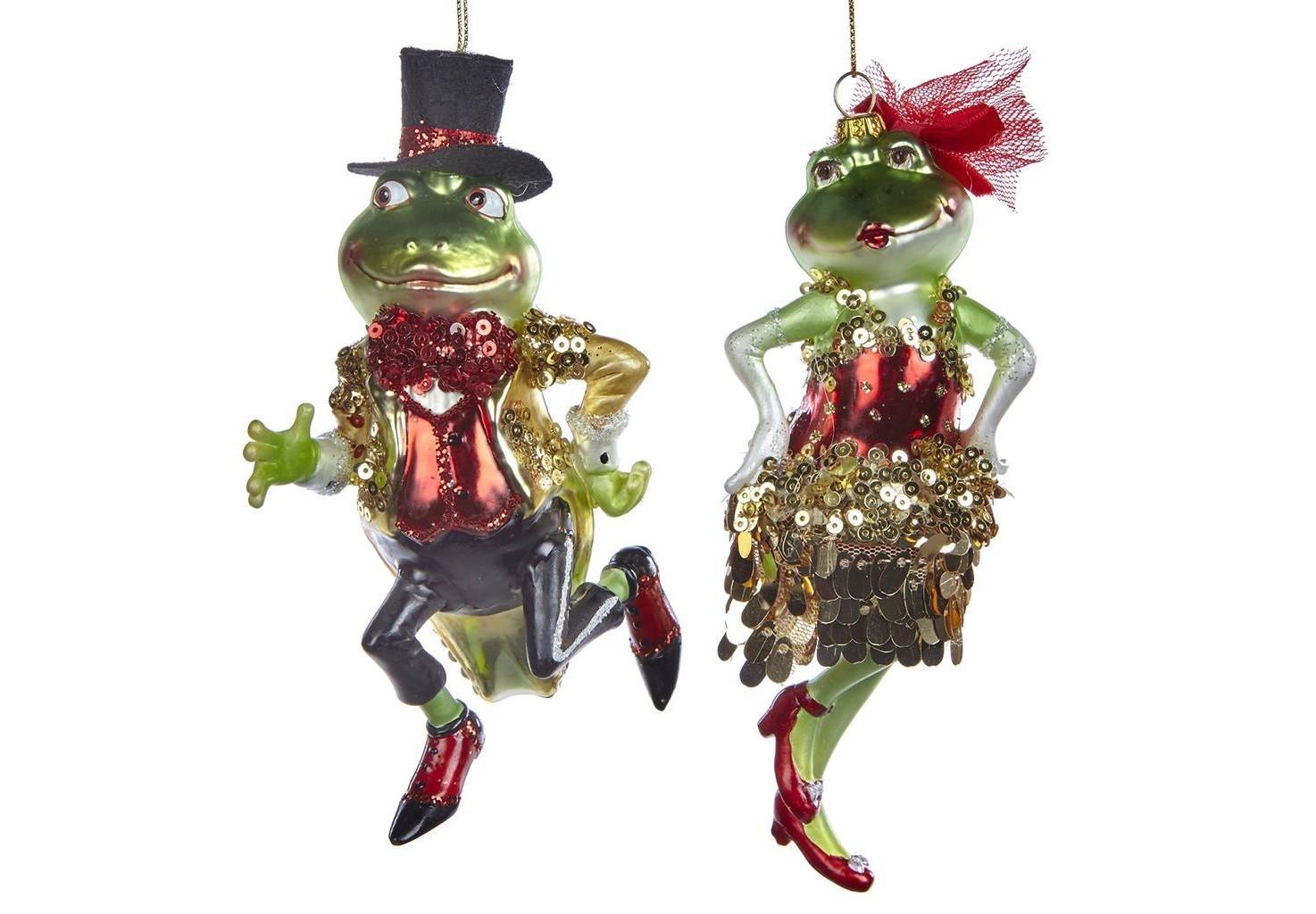 Набор ёлочных игрушек Танцующие Лягушки (2шт)Новогодние игрушки<br>коллекционные игрушки ручной работы<br><br>Material: Стекло<br>Width см: 8<br>Depth см: 6<br>Height см: 15