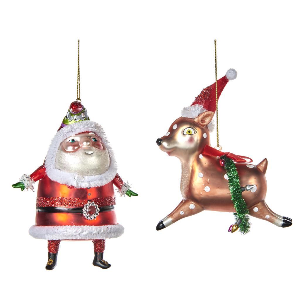 Набор ёлочных игрушек Пухлый Санта и Олень (2шт)Новогодние игрушки<br>коллекционные игрушки ручной работы<br><br>Material: Стекло<br>Width см: 8<br>Depth см: 5<br>Height см: 14