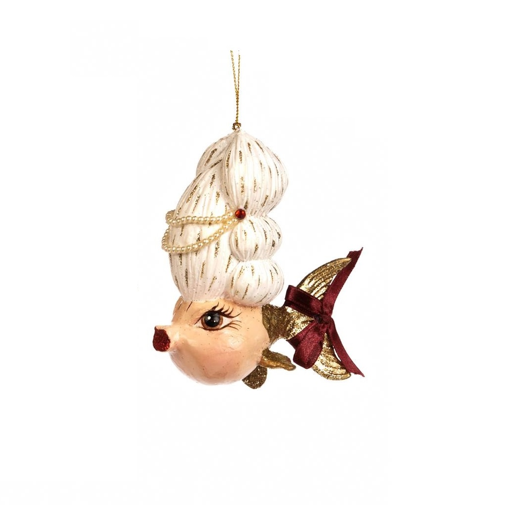 Ёлочное украшение Рыбка-Мадам МоцартНовогодние игрушки<br>авторская ручная работа<br><br>Material: Полистоун<br>Width см: 10<br>Depth см: 5<br>Height см: 12