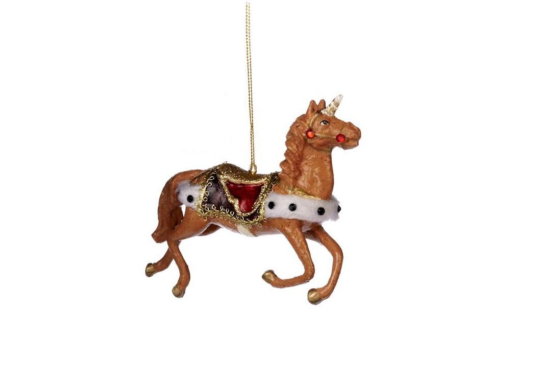 Ёлочное украшение Королевский единорогНовогодние игрушки<br>ручная роспись<br><br>Material: Полистоун<br>Width см: 9<br>Depth см: 4<br>Height см: 16