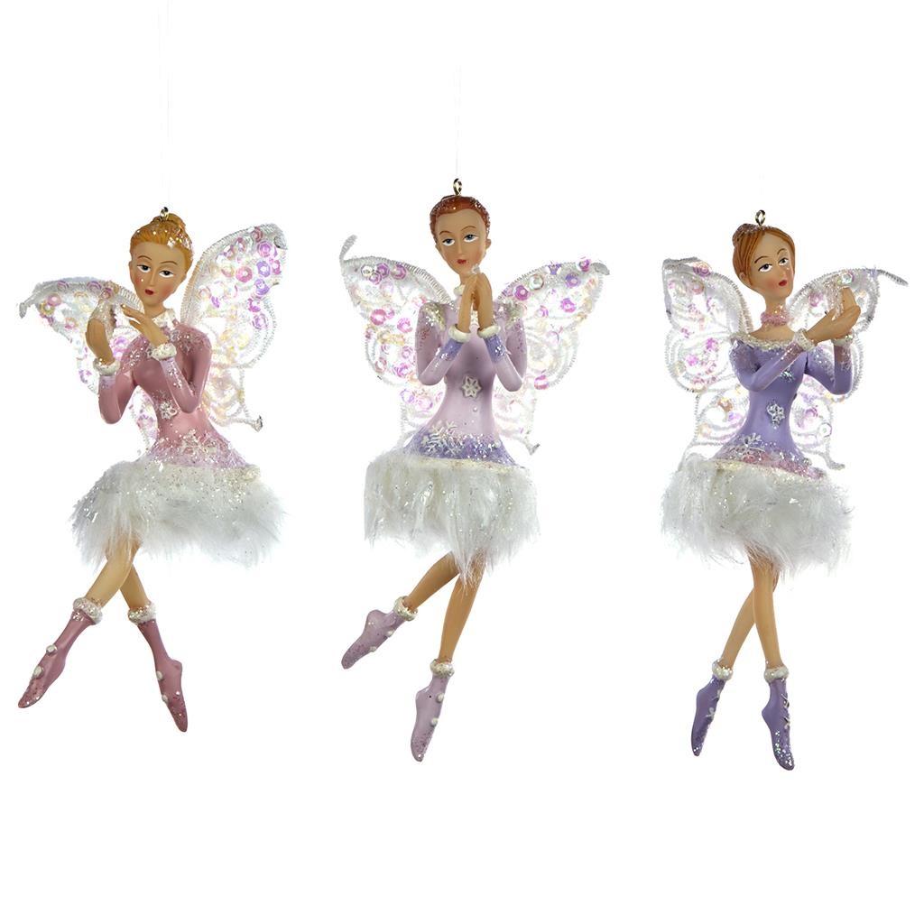 Набор фей в платье с мехом (3шт)Новогодние игрушки<br>ручная работа<br><br>Material: Полистоун<br>Width см: 10<br>Depth см: 9<br>Height см: 14