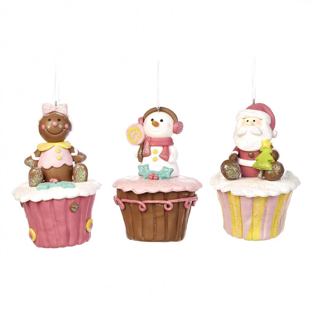 Набор ёлочных украшений Капкейки (3шт)Новогодние игрушки<br>авторская коллекция<br><br>Material: Полистоун<br>Width см: 6<br>Depth см: 6<br>Height см: 7