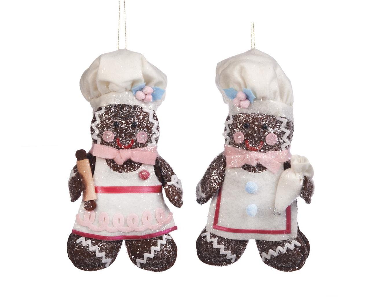 Набор текстильных украшений Пряничные поварята (2шт)Новогодние игрушки<br><br><br>Material: Текстиль<br>Width см: 10<br>Depth см: 8<br>Height см: 19