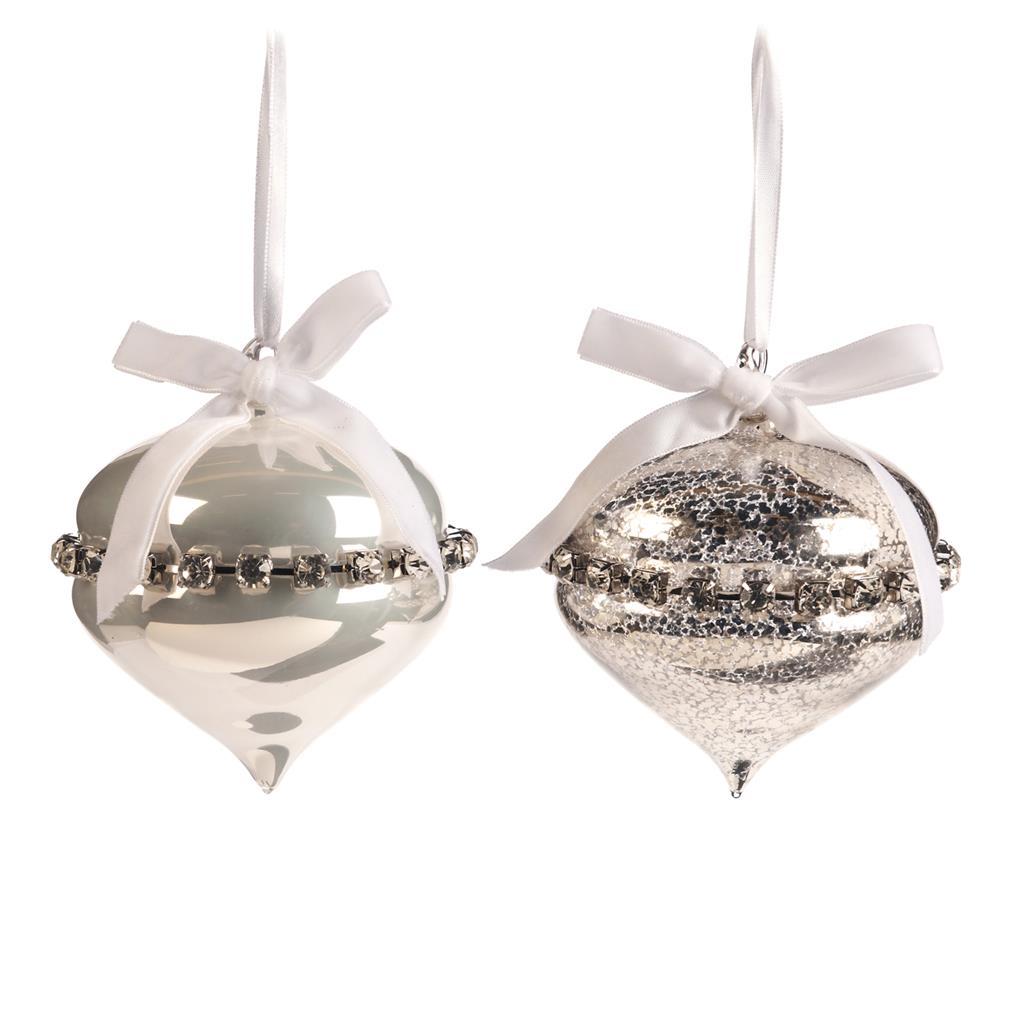 Набор ёлочных украшений с бантиками (2шт)Новогодние игрушки<br><br><br>Material: Стекло<br>Width см: 11<br>Depth см: 11<br>Height см: 11