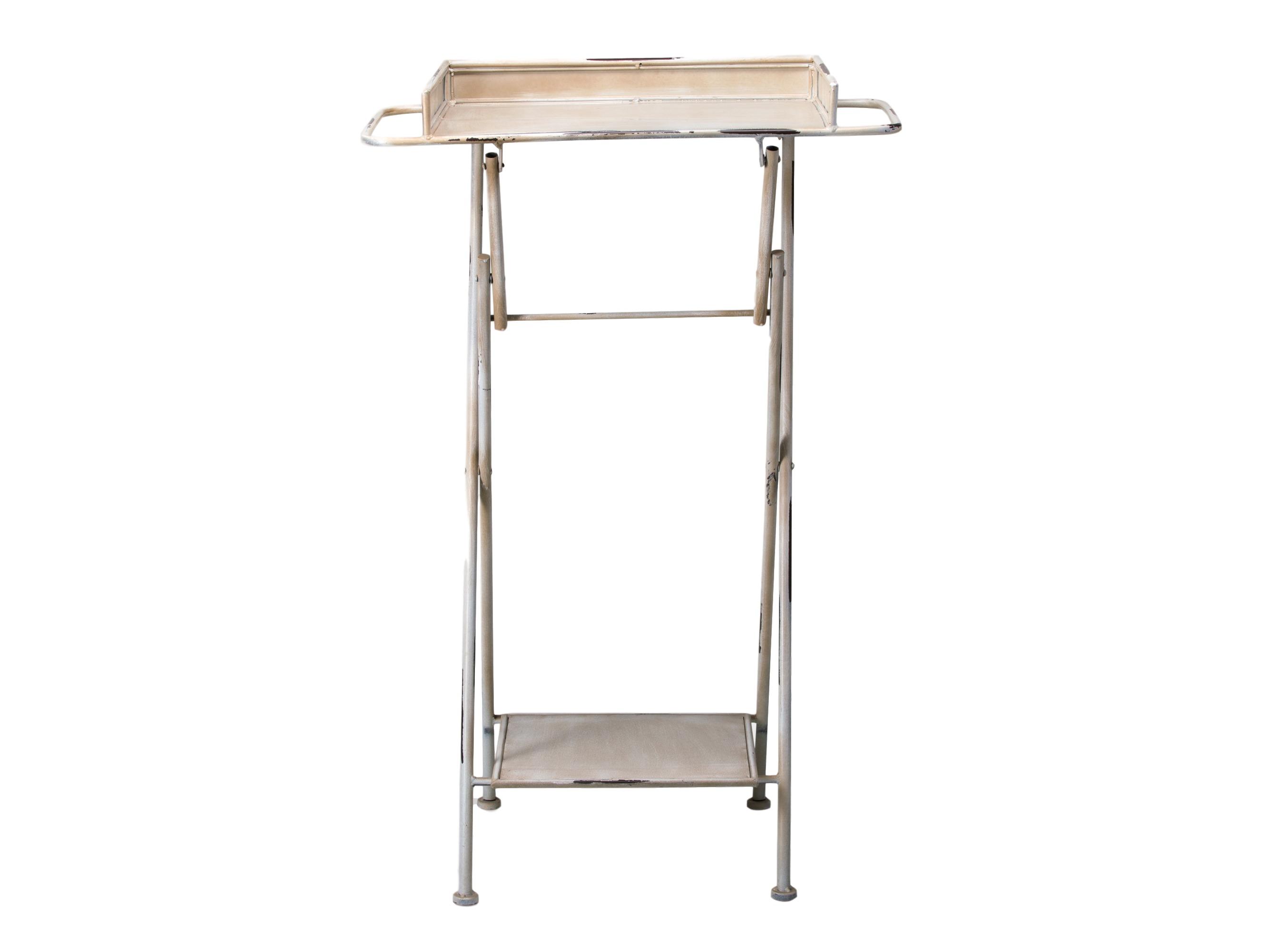 СтоликПриставные столики<br>Столик железный с бортиками, нижней полочкой и держателями по бокам.<br><br>Material: Металл<br>Length см: None<br>Width см: 66<br>Depth см: 40<br>Height см: 102