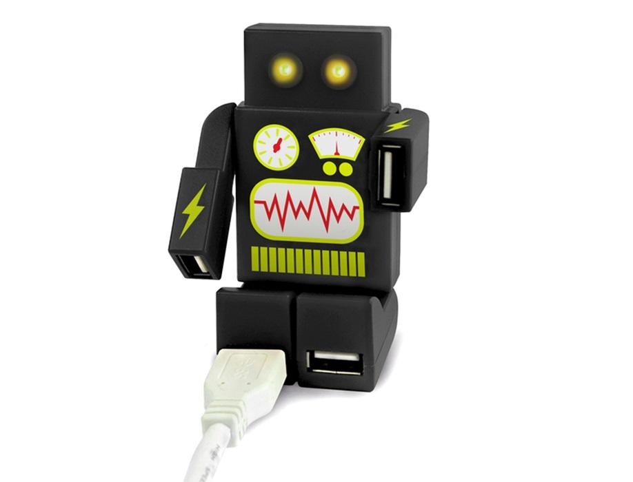 Usb-концентратор robohub 2000 Другое<br>Больше не придется выбирать, какой из гаджетов подключить к ноутбуку, а какой - отложить подальше! Компактный USB-концентратор в форме робота Robohub 2000 поможет вам не волноваться о поиске дополнительных USB-разъемов. Подключите концентратор к основному порту и используйте до 4 устройств одновременно. Это могут быть комплектующие для компьютера, такие, как мышка, клавиатура или гарнитура, либо внешние носители: флешки, карты памяти, телефоны, плееры и т.д. <br>Универсальный предмет для дома и офиса. Подойдет для любых компьютеров, в том числе для Apple Macintosh. Светодиодные глаза робота выполняют функцию индикатора и зажигаются при включении.<br><br>Material: Пластик<br>Ширина см: 6<br>Высота см: 10<br>Глубина см: 2