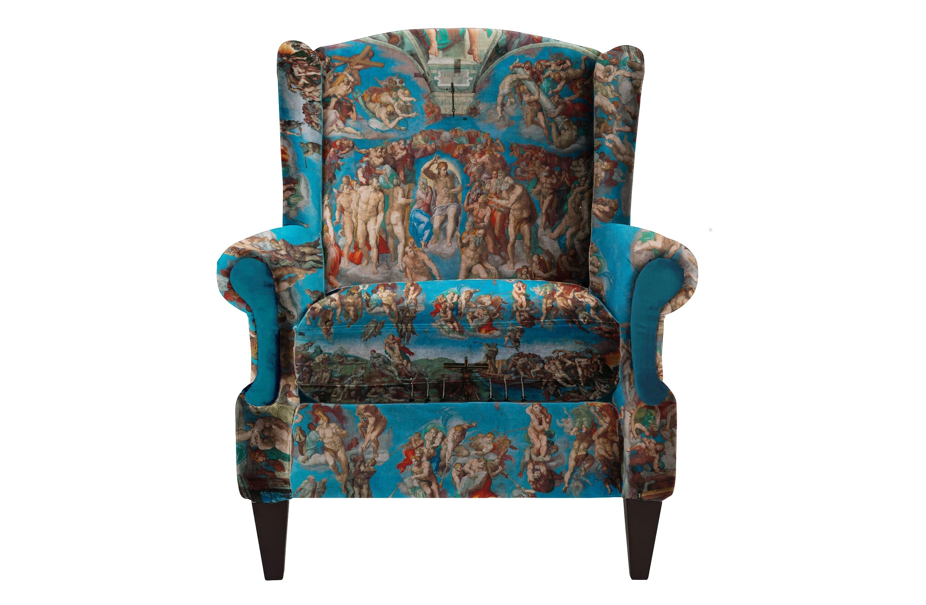 Кресло Giudizio universaleКресла с высокой спинкой<br>Уникальный дизайн. Кресло с принтом Великого Микеланджело .  Фреска  на алтарной стене Сикстинской капеллы в Ватикане. Художник работал над фреской четыре года — с 1537 по 1541. Микеланджело вернулся в Сикстинскую капеллу двадцать пять лет спустя после того, как завершил роспись её потолка. Масштабная фреска занимает всю стену позади алтаря Сикстинской капеллы. Темой её стало второе пришествие Христа и апокалипсис. «Страшный суд» считается произведением, завершившим в искусстве эпоху Возрождения, которой сам Микеланджело отдал дань в росписи потолка и сводов Сикстинской капеллы, и открывшим новый период разочарования в философии антропоцентрического гуманизма. Произвдено из экологически чистых материалов. Каркас и ножки  - дуб. Модель представлена в ткани микровелюр – мягкий, бархатистый материал, широко используемый в качестве обивки для мебели. Обладает целым рядом замечательных свойств: отлично пропускает воздух, отталкивает пыль и долго сохраняет изначальный цвет, не протираясь и не выцветая. Высокие эксплуатационные свойства в сочетании с превосходным дизайном обеспечили микровелюру большую популярность.&amp;lt;div&amp;gt;&amp;lt;br&amp;gt;&amp;lt;/div&amp;gt;&amp;lt;div&amp;gt;&amp;lt;div&amp;gt;По желанию возможность выбрать ткань из других коллекций.&amp;lt;/div&amp;gt;&amp;lt;div&amp;gt;Гарантия от производителя 1 год.&amp;lt;/div&amp;gt;&amp;lt;div&amp;gt;Продукция изготавливается под заказ, стандартный срок производства 3-4 недели. Более точную информацию уточняйте у менеджера.&amp;lt;/div&amp;gt;&amp;lt;/div&amp;gt;<br><br>Material: Текстиль<br>Ширина см: 82<br>Высота см: 98<br>Глубина см: 88
