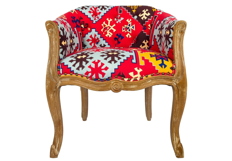 Кресло БиаррицИнтерьерные кресла<br>Кресло &amp;quot;Биарриц&amp;quot; в ярком орнаментальном наряде придаст Вашему интерьеру эффект и оригинальность. Сидения и спинка кресла - мягкие, с долговечным упругим наполнителем. Драпировка спинки сделана из плотной ткани уникальной расцветки, которая идеально сочетается с натуральным цветом бука. Корпус опирается на изогнутые ножки в дворцовой манере &amp;quot;кабриоли&amp;quot;. Грациозный  изгиб облегчает мебель визуально. Ткань из смеси льна и хлопка имеет покрытие, защищающее от пятен. &amp;lt;div&amp;gt;&amp;lt;br&amp;gt;&amp;lt;/div&amp;gt;&amp;lt;div&amp;gt;Материал: корпус - бук, обивка - 25% хлопок, 15% лен, 60% полиэстер&amp;lt;br&amp;gt;&amp;lt;/div&amp;gt;<br><br>Material: Текстиль<br>Width см: 62<br>Depth см: 61<br>Height см: 69