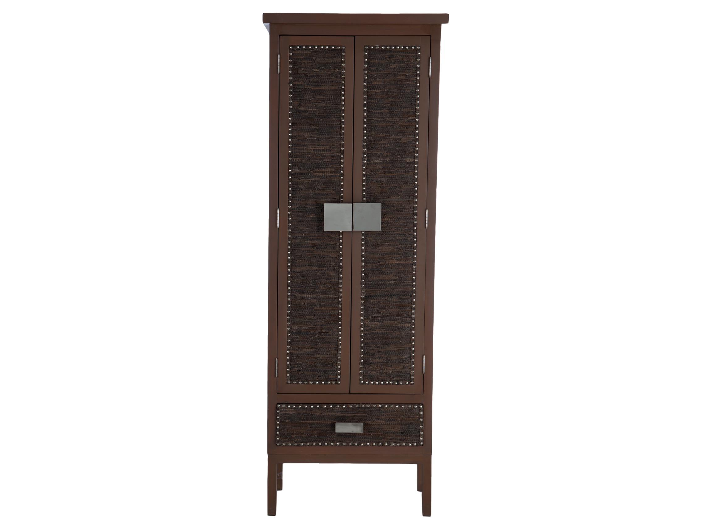 ШкафБельевые шкафы<br>Шкаф с полками, дверцы и ящик декорированы вставками из экокожи.&amp;amp;nbsp;&amp;lt;div&amp;gt;Металлические ручки.&amp;lt;/div&amp;gt;<br><br>Material: Дерево<br>Width см: 76<br>Depth см: 43<br>Height см: 220