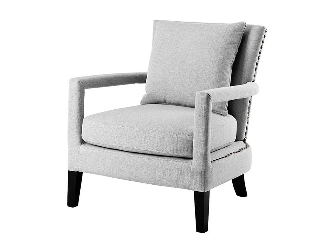 КреслоИнтерьерные кресла<br>Кресло с подлокотниками Chair Gregory на деревянных черных ножках. Кресло обтянуто льняной тканью серого цвета. Съемные подушки. Декор: металлические заклепки.<br><br>Material: Текстиль<br>Ширина см: 70.0<br>Высота см: 81.0<br>Глубина см: 70.0