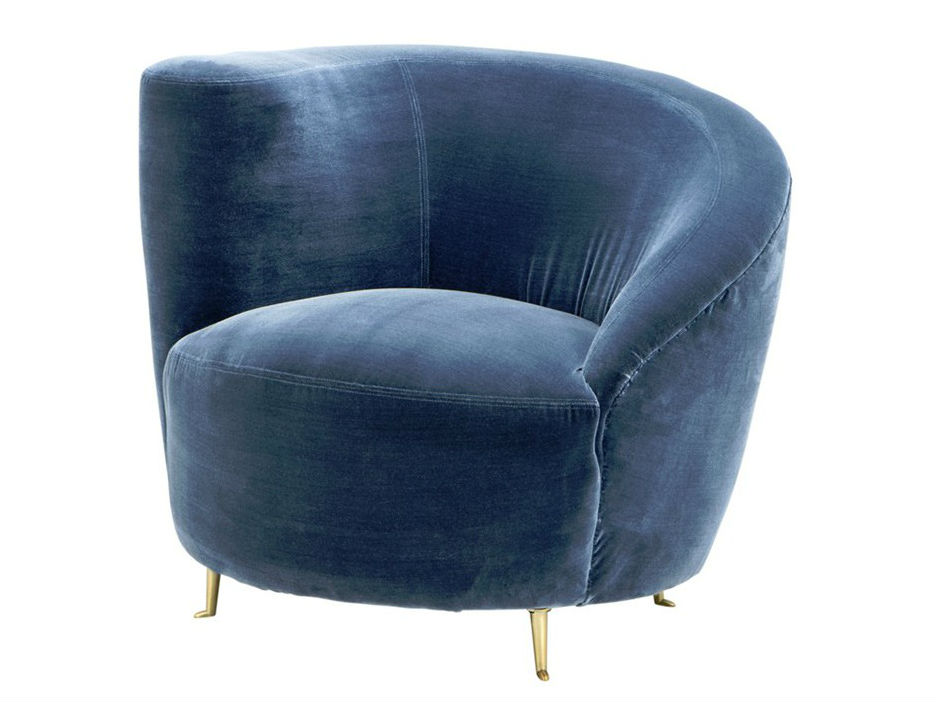 КреслоИнтерьерные кресла<br>Кресло с подлокотником на одну сторону Chair Khan на ножках из металла цвета латуни. Кресло обтянуто тканью голубого цвета.<br><br>Material: Текстиль<br>Width см: 91<br>Depth см: 85<br>Height см: 74